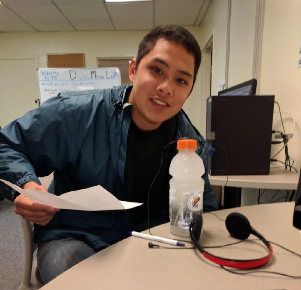 Albert Bernales in the studio to record a Bread Talk.