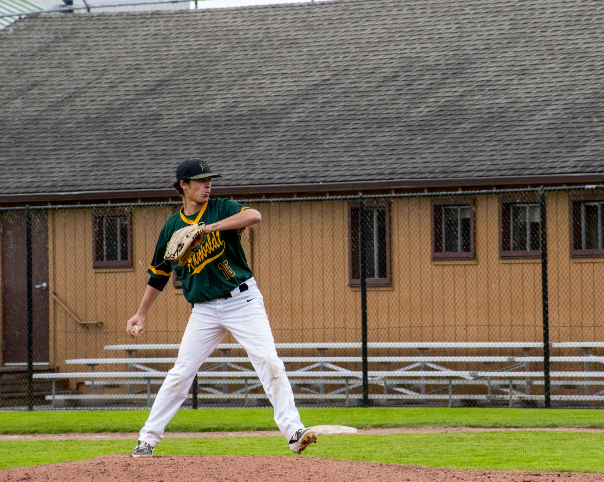 A Humboldt State pitcher delivers the pitch during the Jacks club baseball game on September 28th, 2019 at the Arcata Ball Park. | Photo by Liam Warner