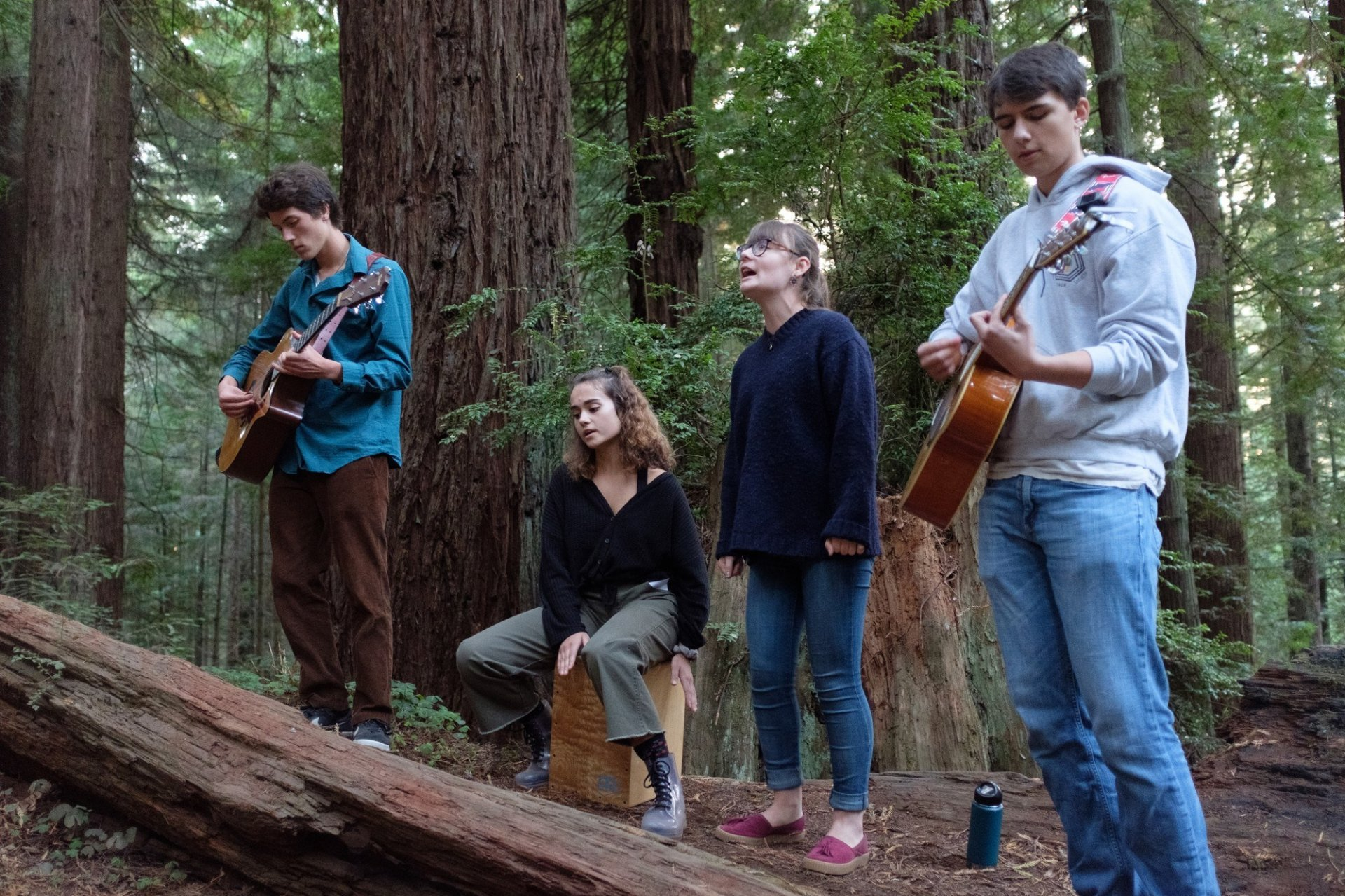 From left to right: Lucas Homan, Zelda Geren, Nigella Baur and Fenix Banaskiewicz of Petty Education are performing in the Arcata community forest show on Sept. 23 in Arcata, CA. The band is one of four who played at the show. | Photo by Michael Weber