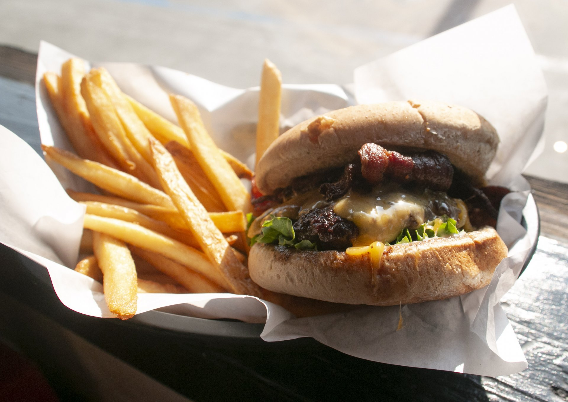 Bacon cheese burger from the restaurant Stars in Arcata. Photo credit: Bailey Tennery