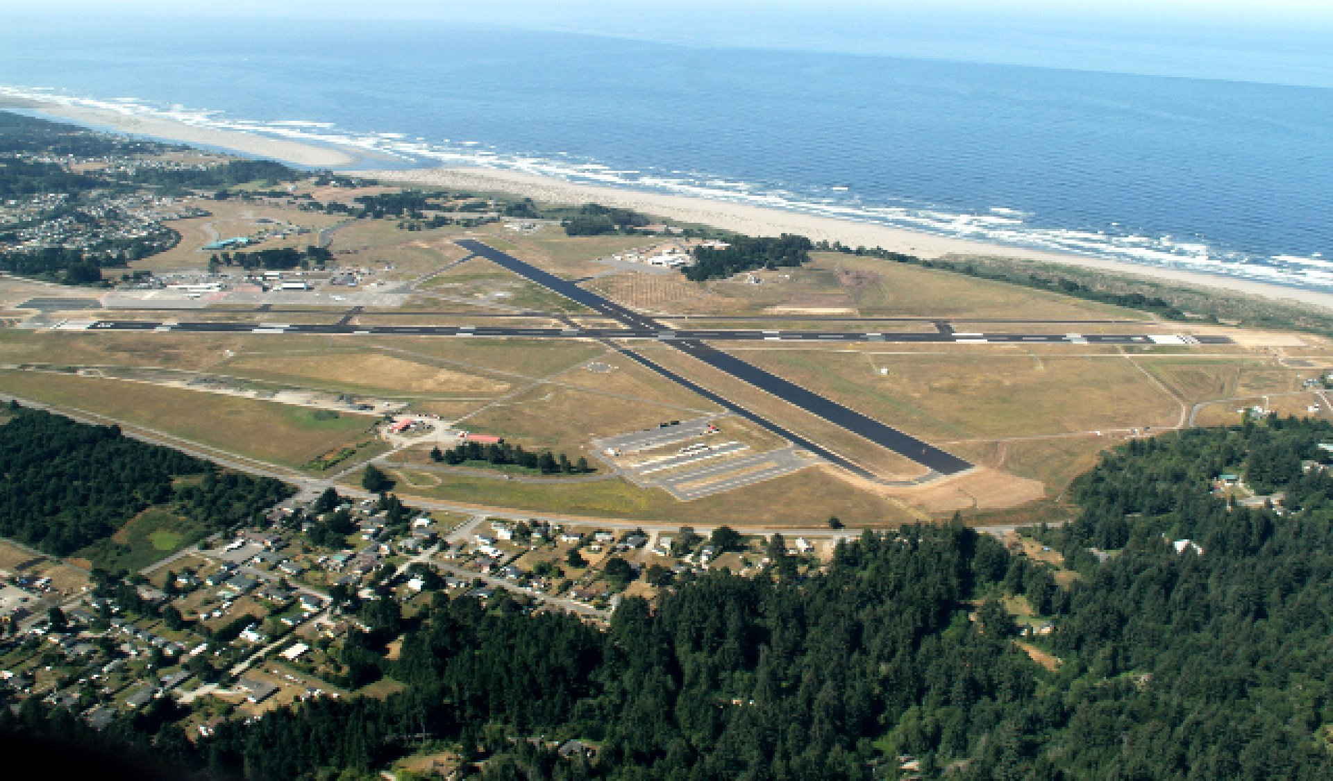 An aerial view of Arcata-Eureka Airport in Humboldt County, California. Courtesy of Humboldt State University.