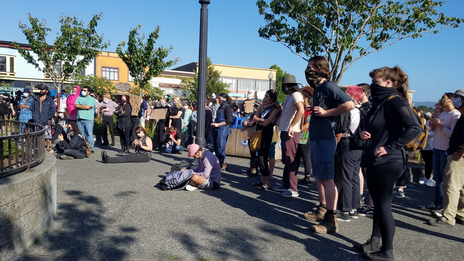 Protesters gather in the Arcata Plaza to speak out against police brutality and racism on June 1   Photo by Thomas Lal