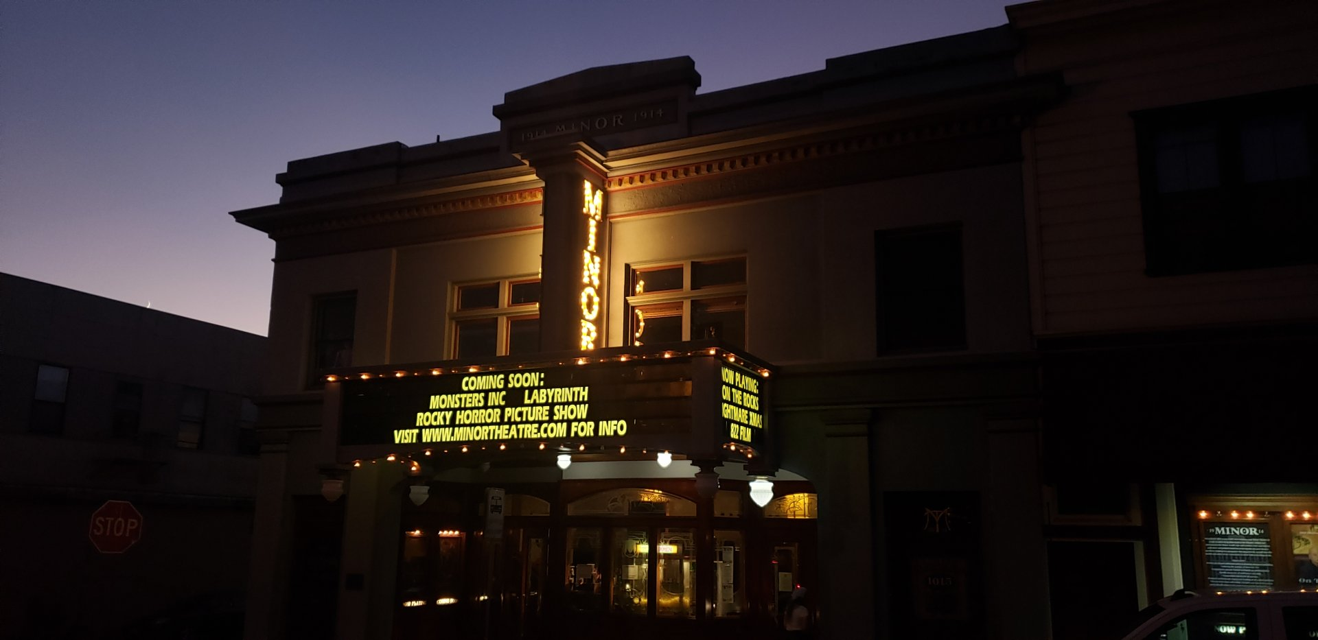 The marquee above the Minor Theater lit up on Oct 19. | Photo by Seth Finnegan