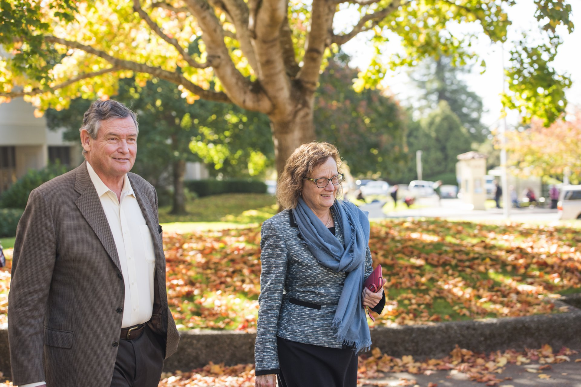 California State University Chancellor Timothy P. White on Humboldt State University's campus with current HSU President Lisa Rossbacher before their meeting on Oct. 9, 2018. | Photo courtesy of Humboldt State University