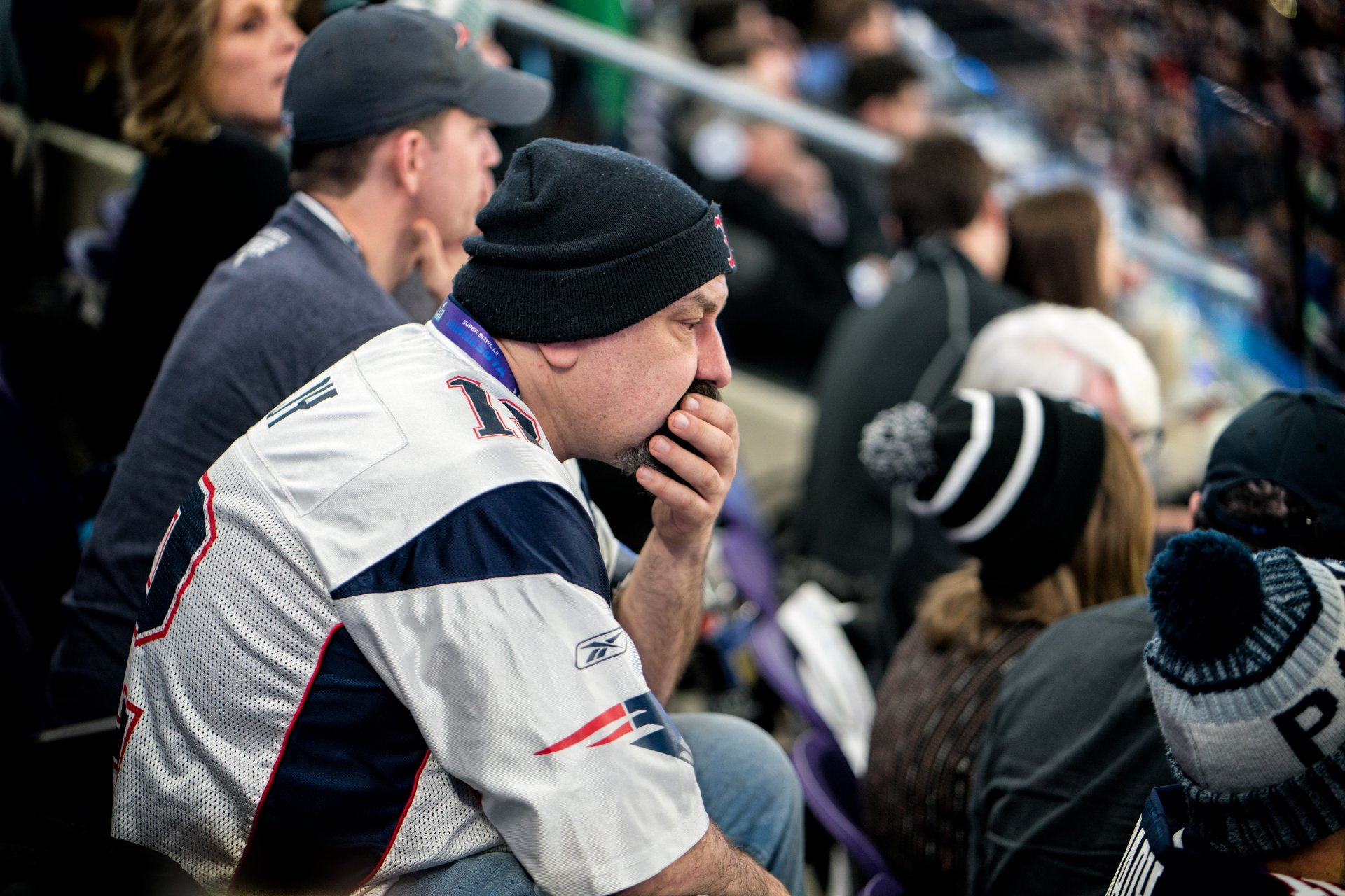 A Patriots fan watches the final seconds of Super Bowl LII (2018) in Minneapolis. | Photo courtesy Lorie Shaull