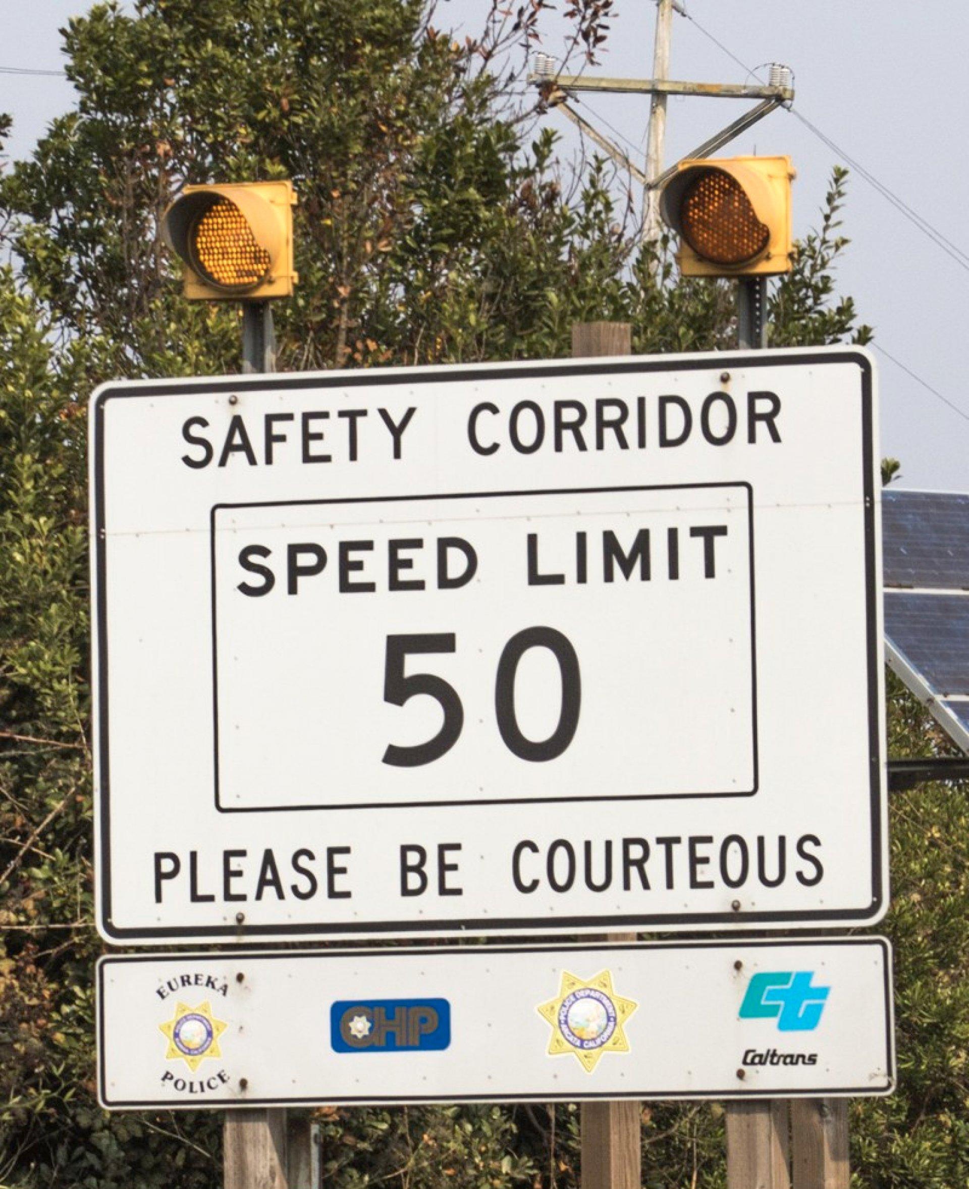 Safety corridor sign heading North from Eureka. | Tyler Boydstun
