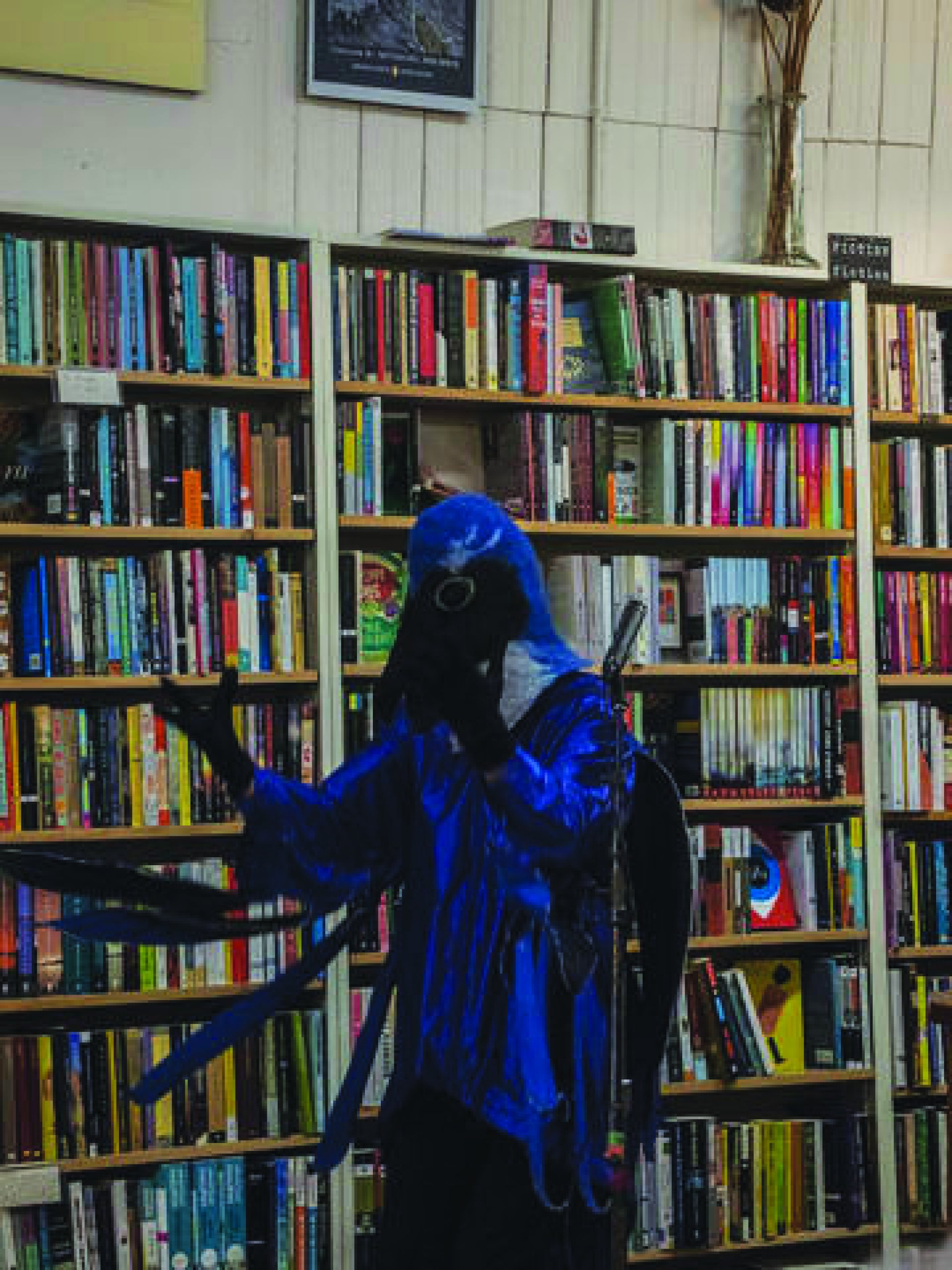 Poet Kirk Lumpkin as MC blue jay during Arcata Arts Alive poetry reading at Northtown Books on Friday April 12.| Photo by T.William Wallin