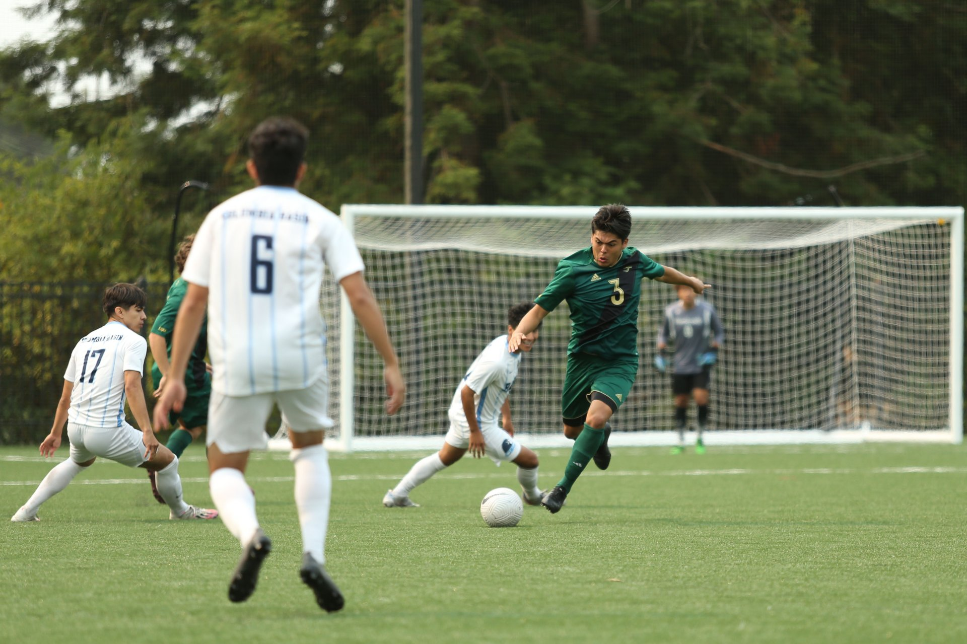 Christian Gonzalez kicks the ball during a game against visiting Columbia Basin at College Creek Field on Aug. 28. (Photo courtesy of Thomas Lal/HSU Athletics)