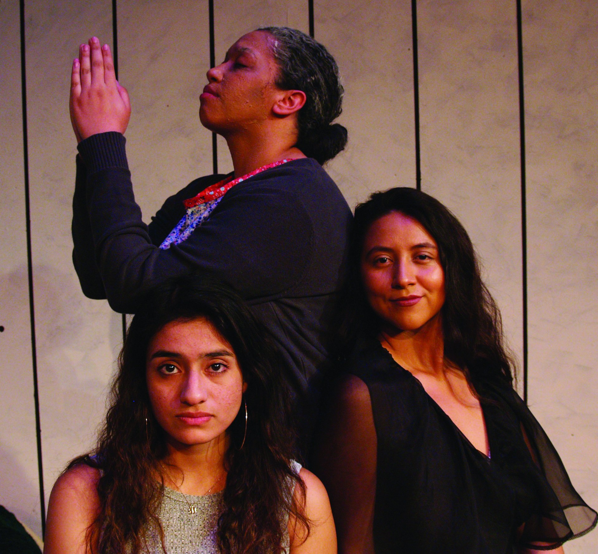 Left to right: Irma Gill as Vanessa, Savannah Baez as Belen, Andrea Carillo as Adoracion. | Photo courtesy of the Theatre Film and Dance Department