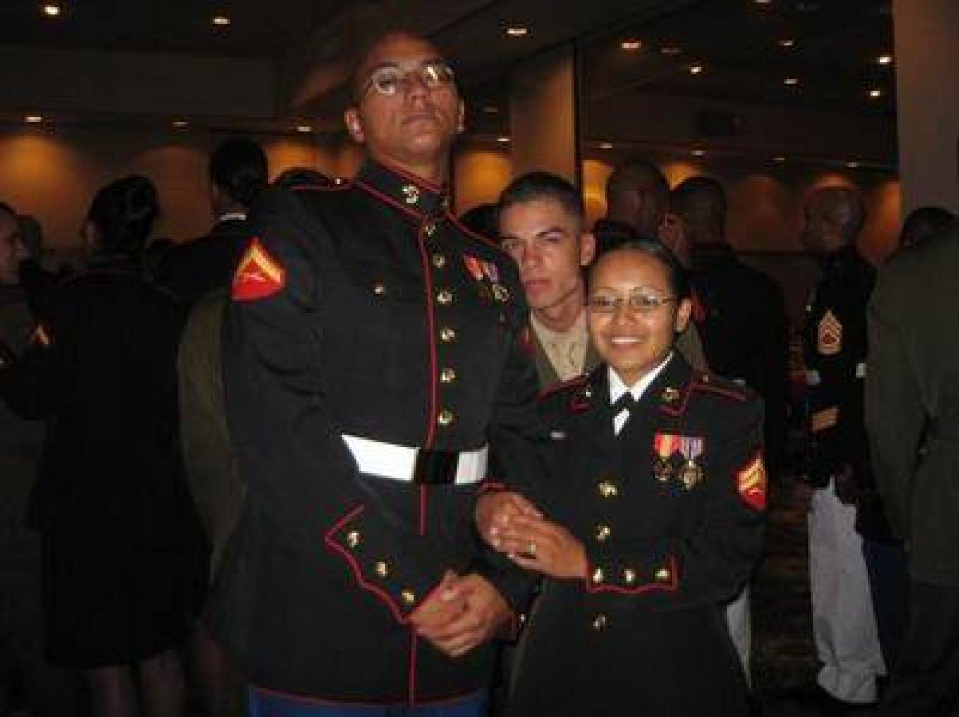 Emilio Pena (Left) in his USMC attire