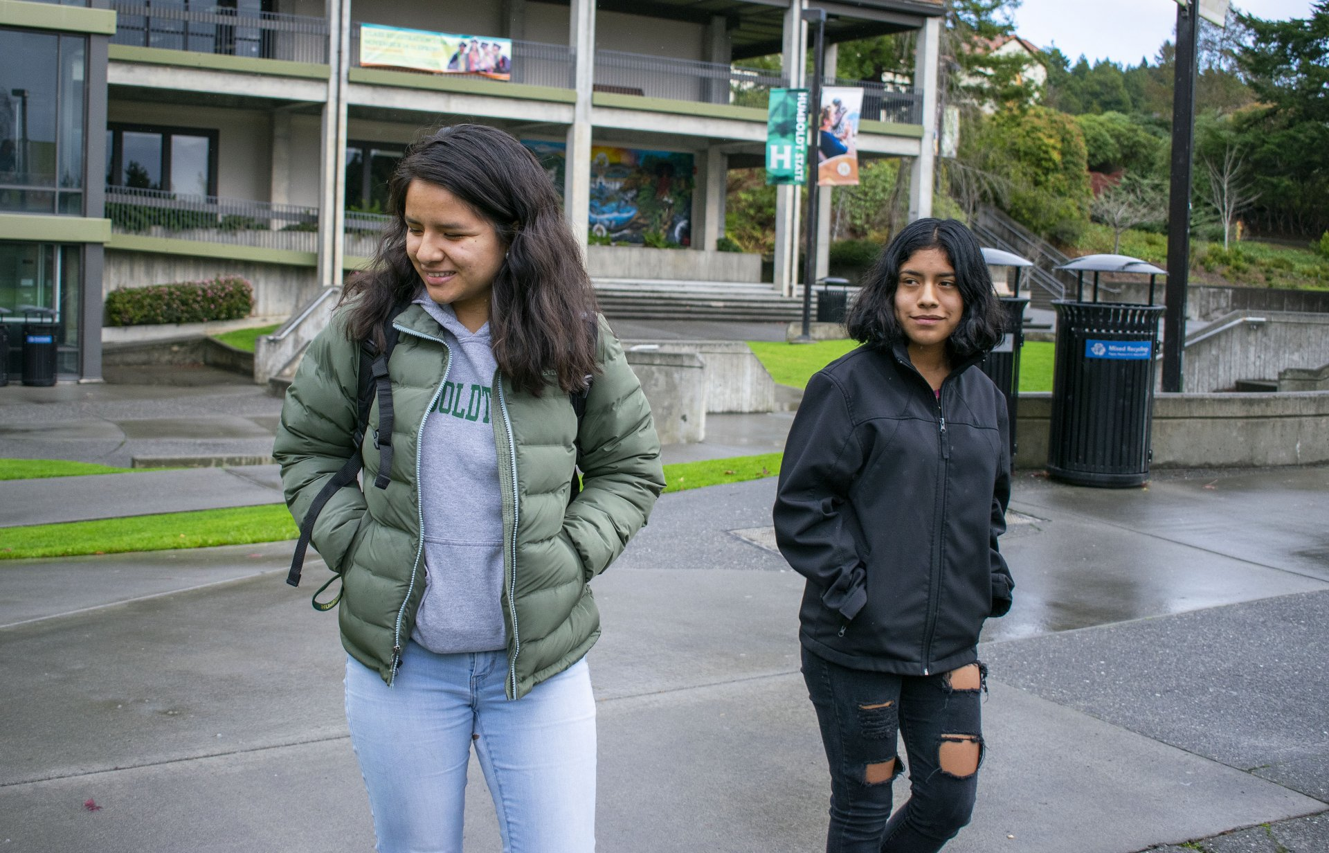 Former Associated Students President Yadira Cruz and incoming AS President Lizbeth Cano walking through the Humboldt State Quad on Dec. 7. Cano has taken over following Cruz's resignation. | Photo by James Wilde.