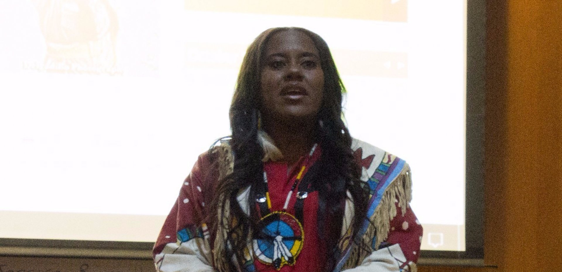 Native and African- American activist YoNasDa LoneWolf Hill speaking during Indigenous People's Week at Humboldt State University Oct. 9-16, 2017. File photo by Robert Brown