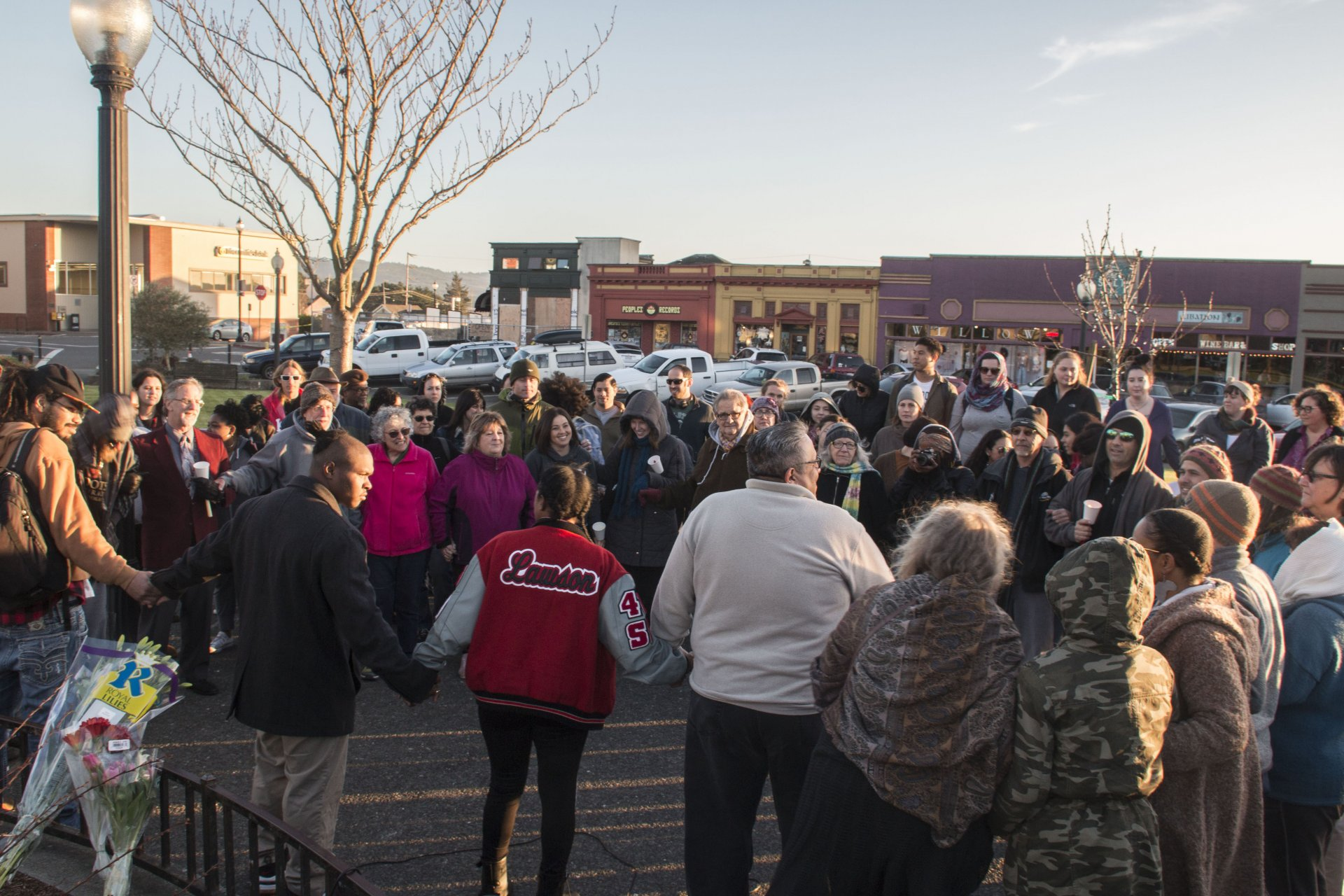 Supporters beginning a prayer at David Josiah Lawson's vigil on Feb 15 at the Arcata Plaza. Photo by Bailey Tennery.