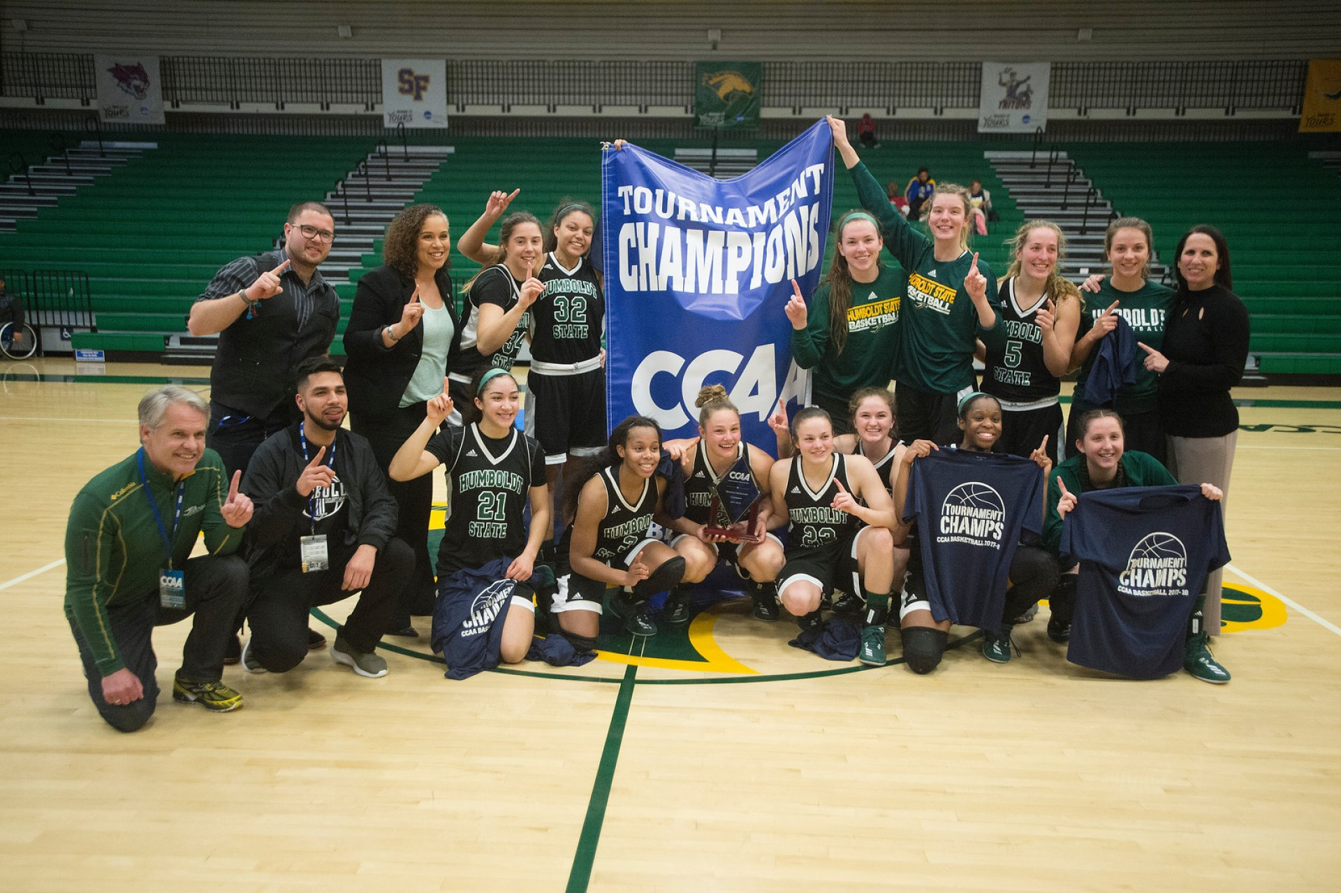The Lumberjacks basketball team pose together after their thrilling come from behind title win versus UCSD. The Jacks won 76-75 and move on to the NCAA D-2 tourney on March 9. Photo courtesy of CPP.