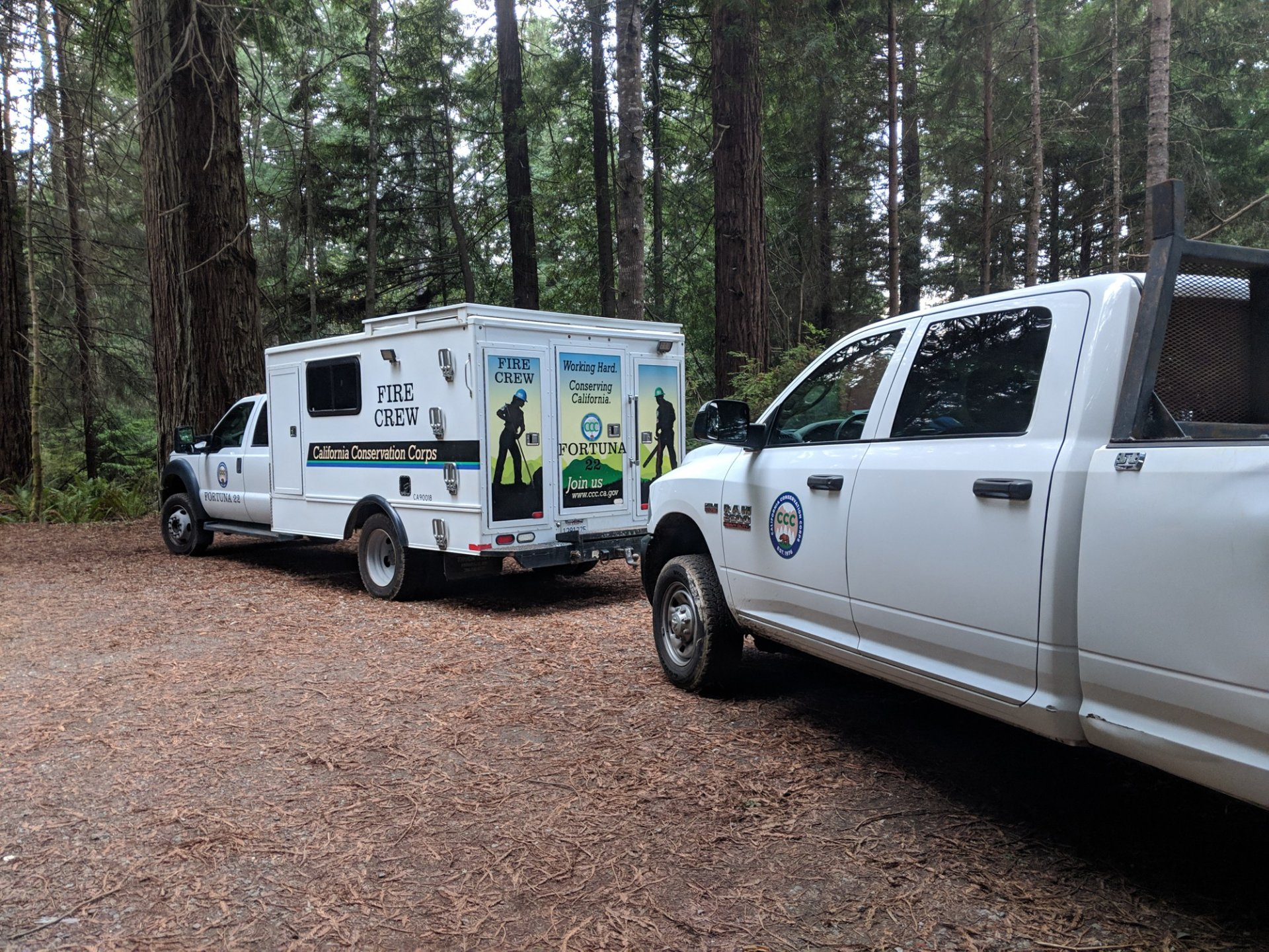 The California Conservation Corps trucks parked at the bottom of 'Loam's Palace' on Jan. 2. | Photo by Jett Williams