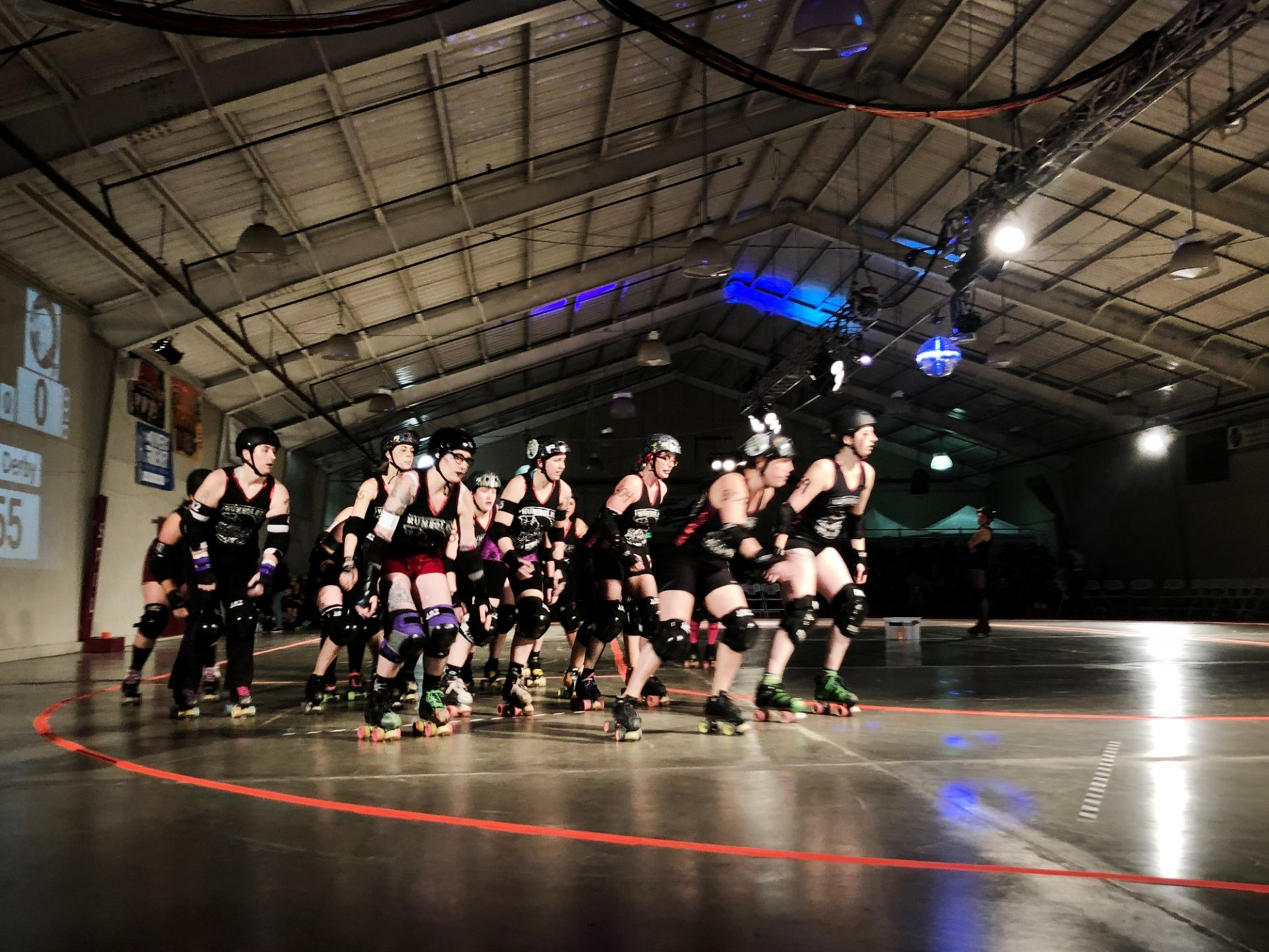 Root Force got in formation to take a few practice laps around the ring before the second game of the night began. Photo by Cassaundra Caudillo Photo credit: Cassaundra Caudillo