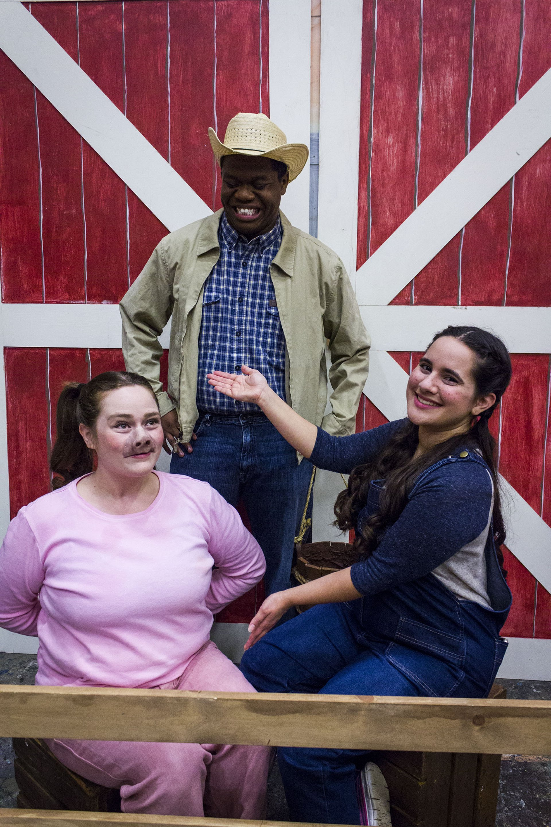 From left to right: Wilbur (played by HSU alumnus Catlin Hatfield), Homer Zuckerman (played by HSU student Isaiah Alexander) and Fern (played by HSU communications and theater arts major Isabella Ceja). Photo by Heather Karns.
