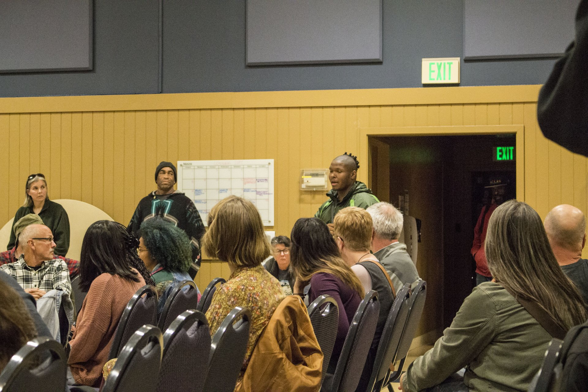 Students stood up to speak during open discussions at the Arcata City Council Meeting on Oct 26. Photo | Sarahi Apaez