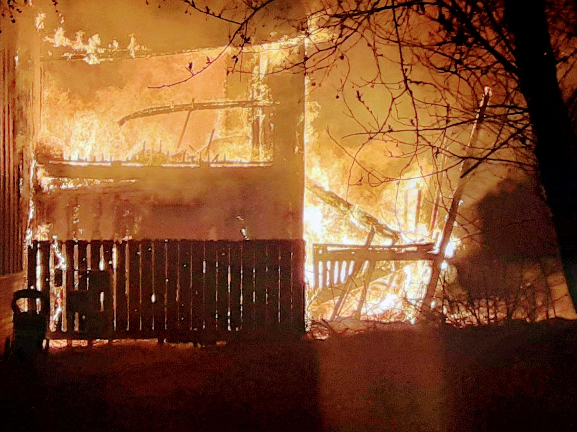 A fire burns at the Meadowbrook Apartments in Arcata, CA on Sunday Feb. 2. | Photo by Adam Loomis