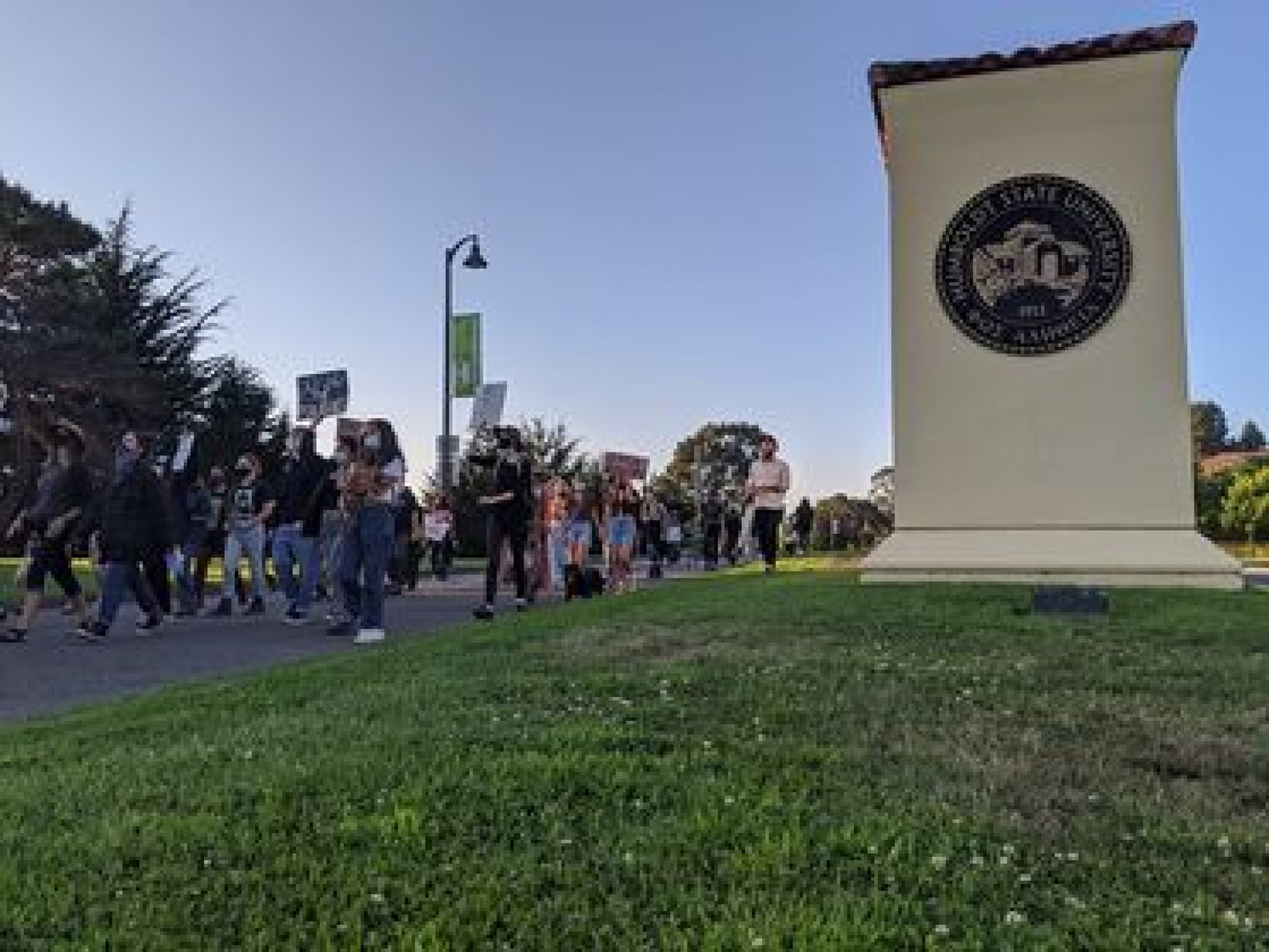Demonstrators marching at the Defund HSU PD protest on Sept. 4 | Photo by Walker B. True