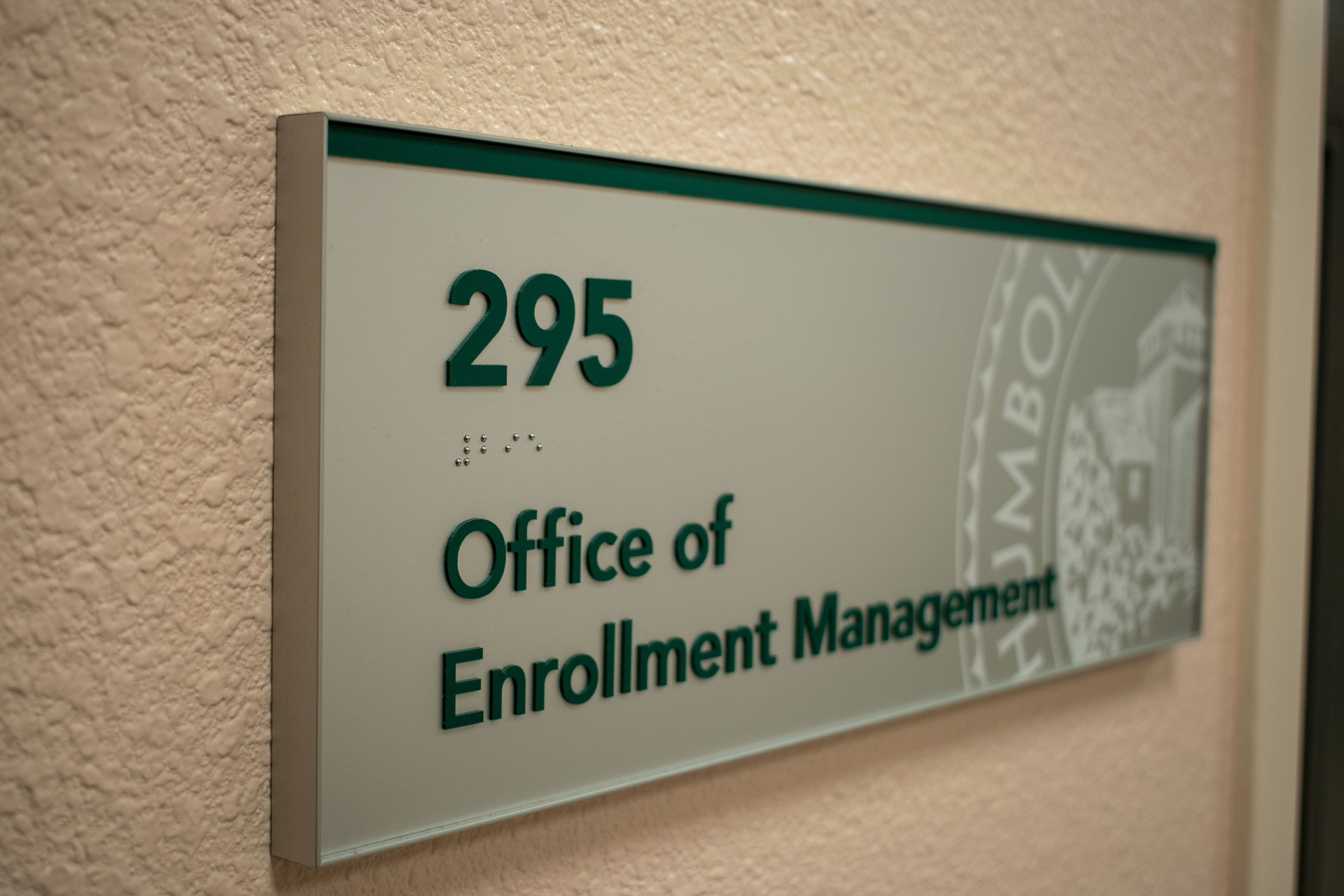 The sign outside the Humboldt State University Office of Enrollment Management on Nov. 4. HSU announced three new scholarships in the last month, with an emphasis on attracting local students. | Photo by James Wilde
