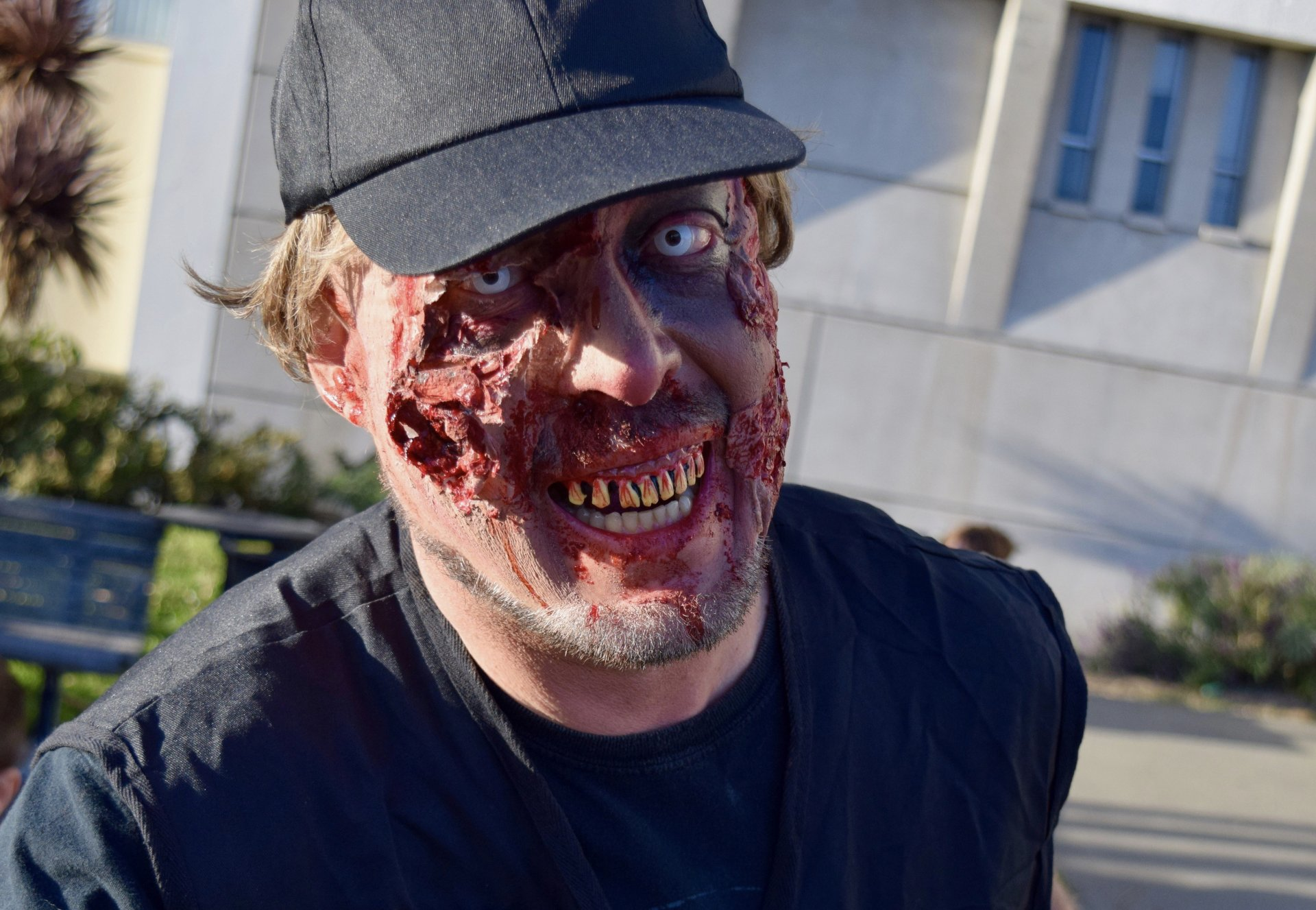 Mark Boyd, coordinator of the Zombie Walk, welcoming other members of the afterlife outside of the Humboldt County Courthouse on, Oct. 7th 2017.