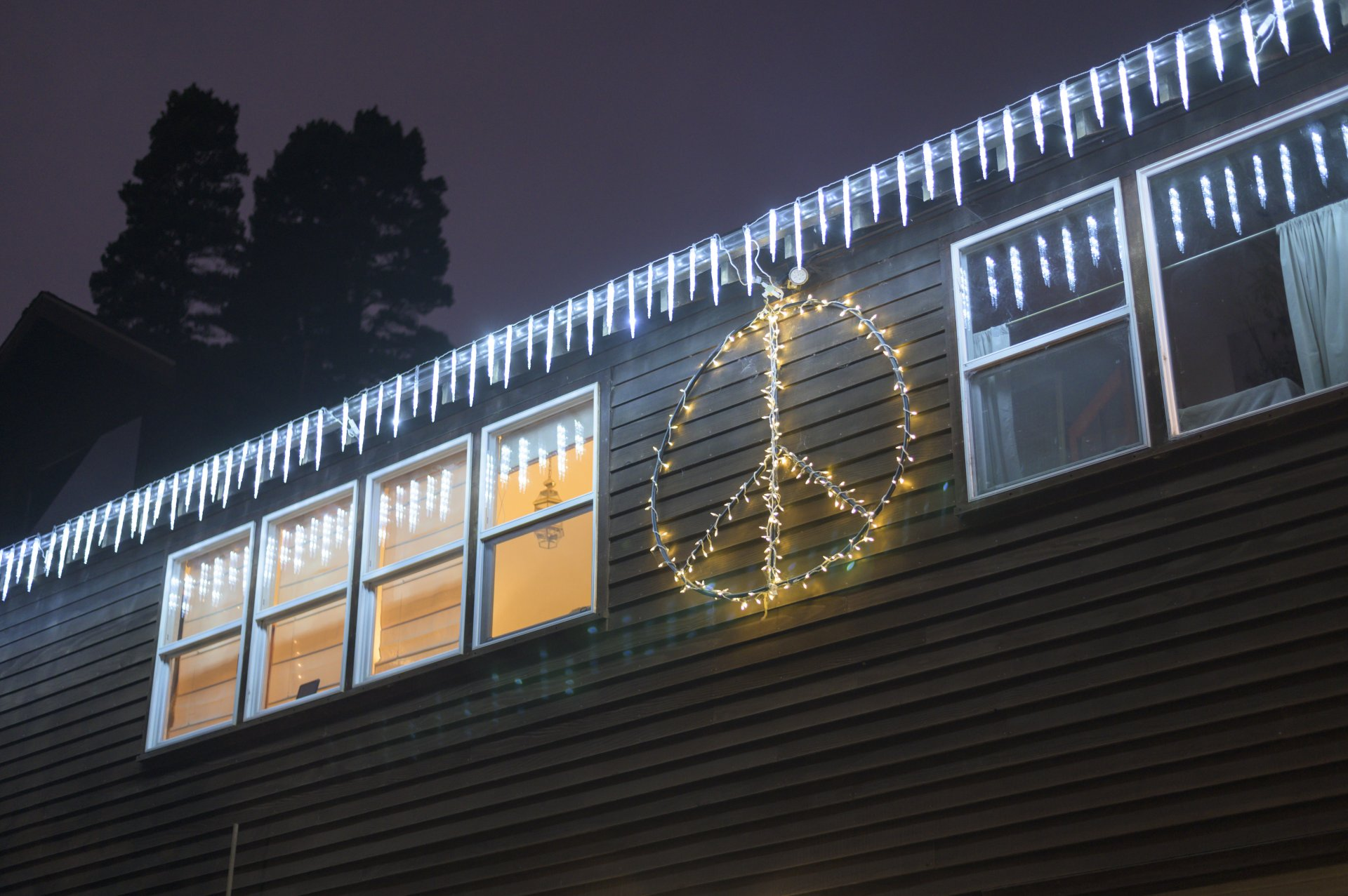 Holiday lights hanging outside of an Arcata home. | Photo by Ben Zawilski