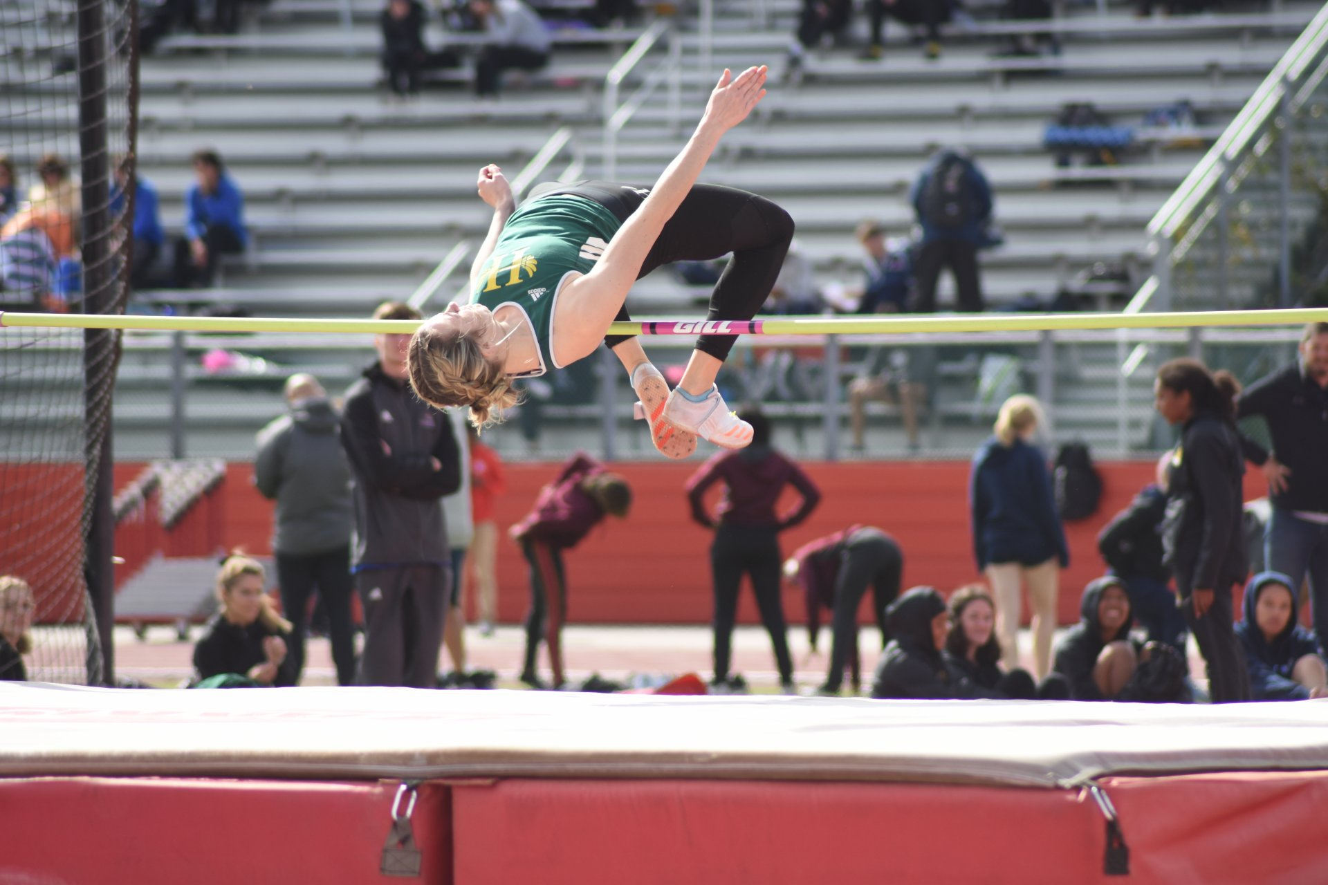 Humboldt State senior Brailee VandenBoom during the women's high jump at the 2020 Kim Duyst Invitational March 7 at Stanislaus State University. | Photo by Elliott Portillo