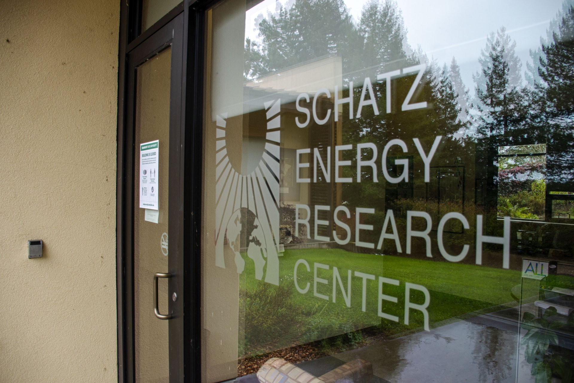 The entrance to Schatz Energy Research Center on the Humboldt State University campus on Feb. 1. | Photo by Elliott Portillo