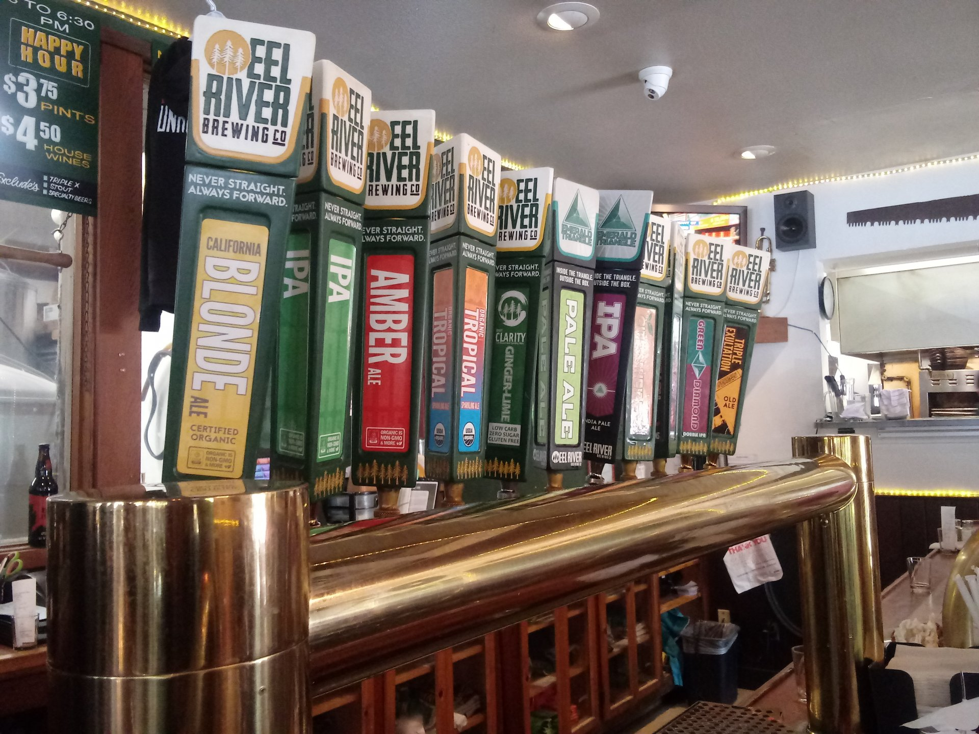 Row of taps at Eel River Brewing Co. in Fortuna on Jan. 28. | Photo by Alberto Muro