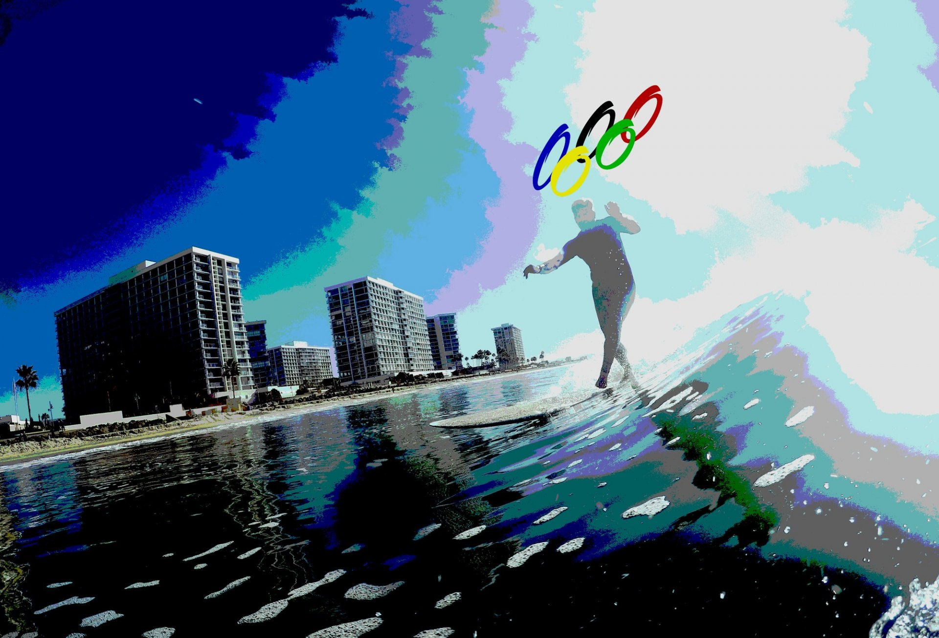 The IOC decided against the 30 million dollar wave pool and instead will hold the competition 40 miles outside of Tokyo in Shidashista. | Photo illustration by Matt Shiffler