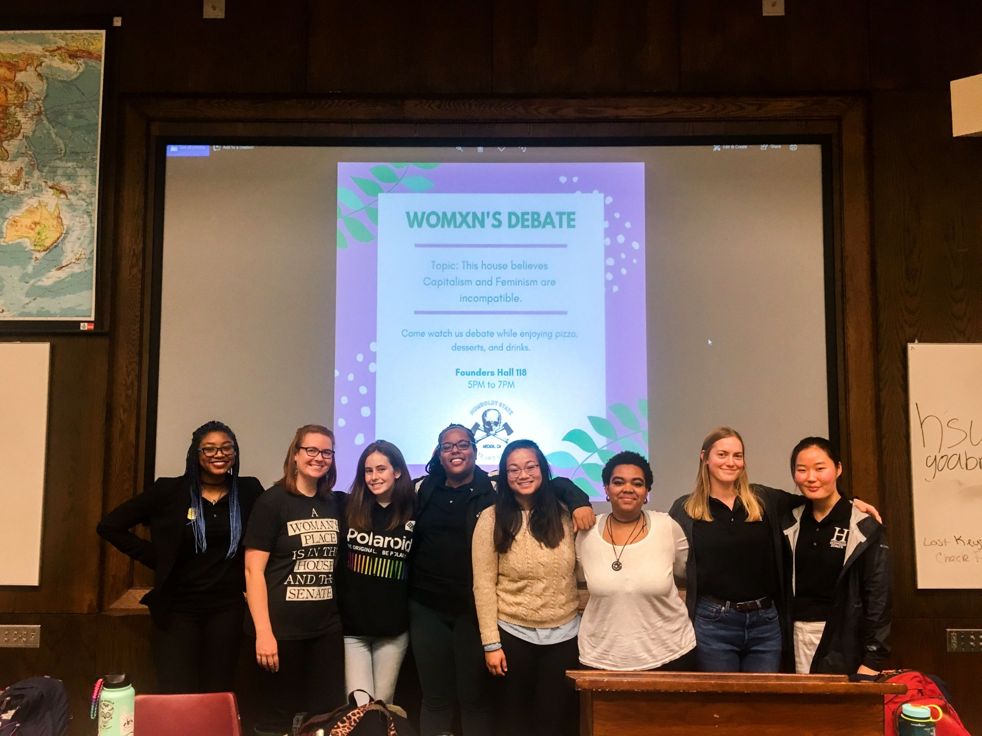 The women of HSU's debate club share smiles after an intense debate over the incompatibility of capitalism and feminism on March 6. | Photo by Christina Samoy.