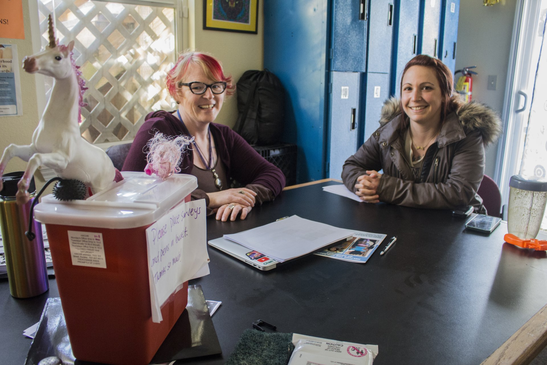 Brandie Wilson, founder of HACHR, and Jessica Smith, programs coordinator, degress after a hectic Monday at Humboldt Area Center of Harm Reduction. Wilson started HACHR in 2013 and both are HSU alumni in socioolgy. | Photo by Tony Wallin
