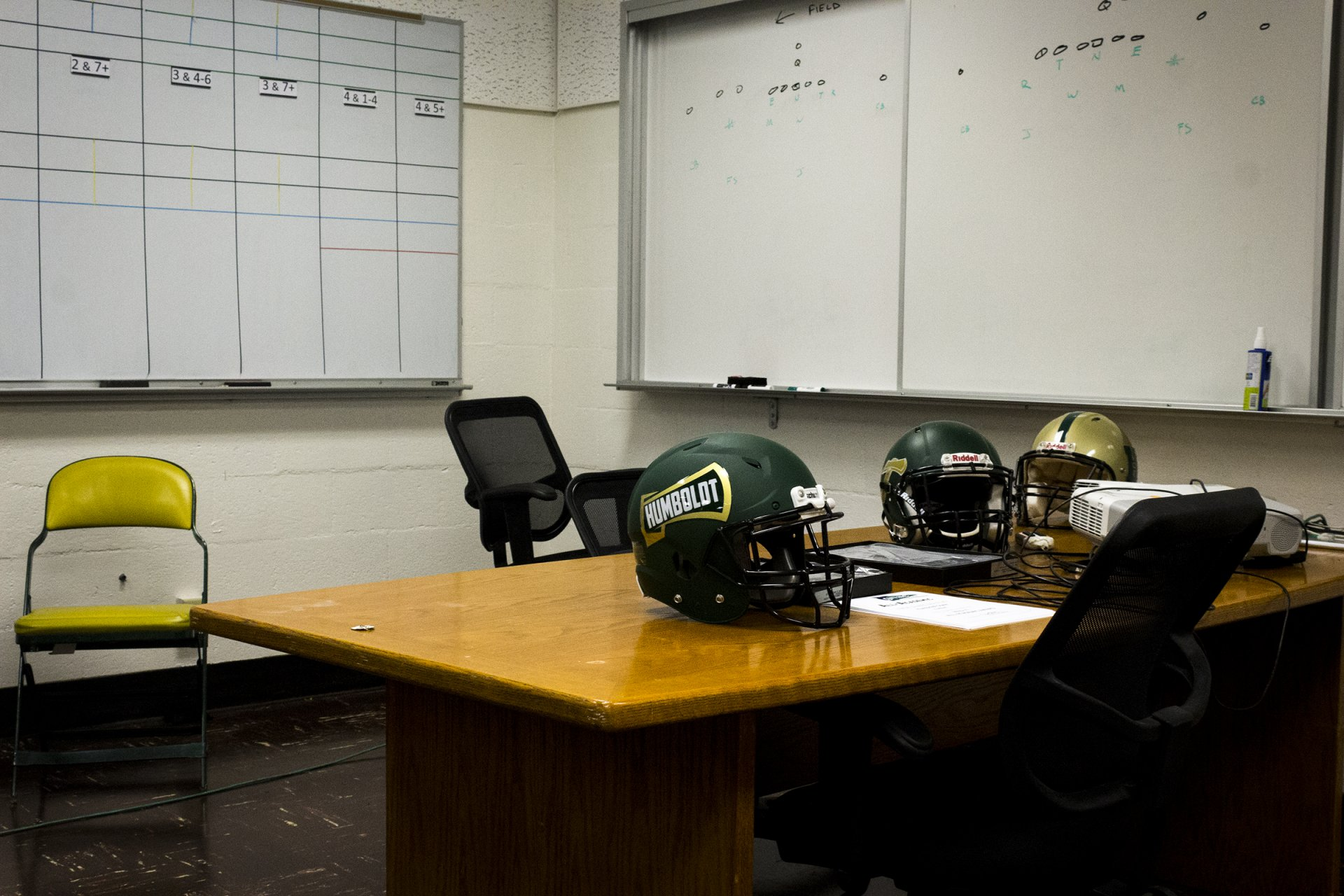 Humboldt State's football conference room sits in silence on Feb. 13 as another coach leaves the program. Photo by Patrick Maravelias.