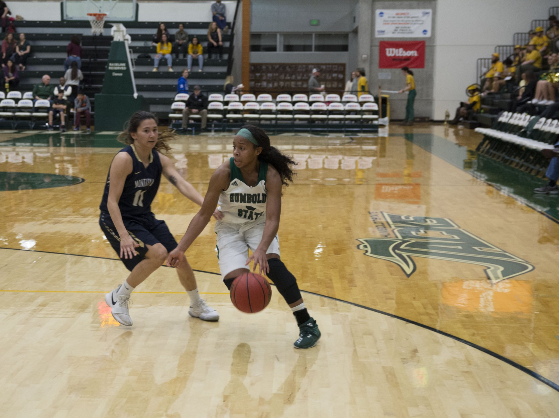 Tyra Turner (3) dribbles past Aubri Smith (11) in the Lumberjack Arena on Feb. 3. Photo by Zac Sibek.