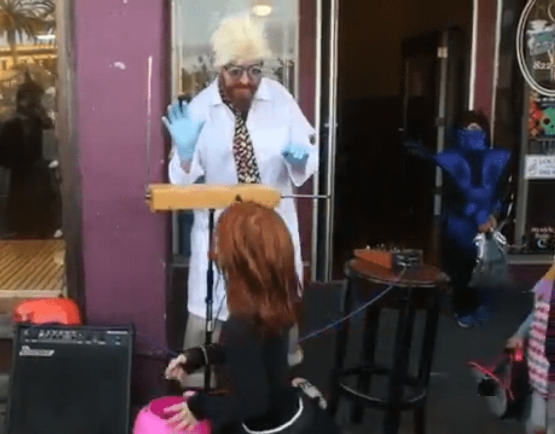 Arcata man plays the theremin for trick-or-treaters walking around the Arcata Plaza on Oct. 31.