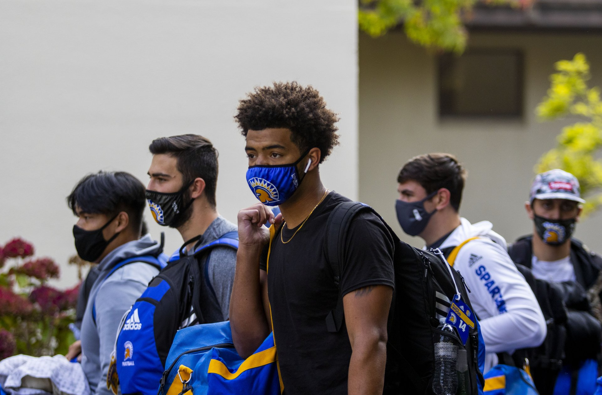 San Jose State Football players arrive on the Humboldt State University campus to start their training camp outside of Santa Clara County before the start of the season on Oct. 2 2020 | Photo by Thomas Lal