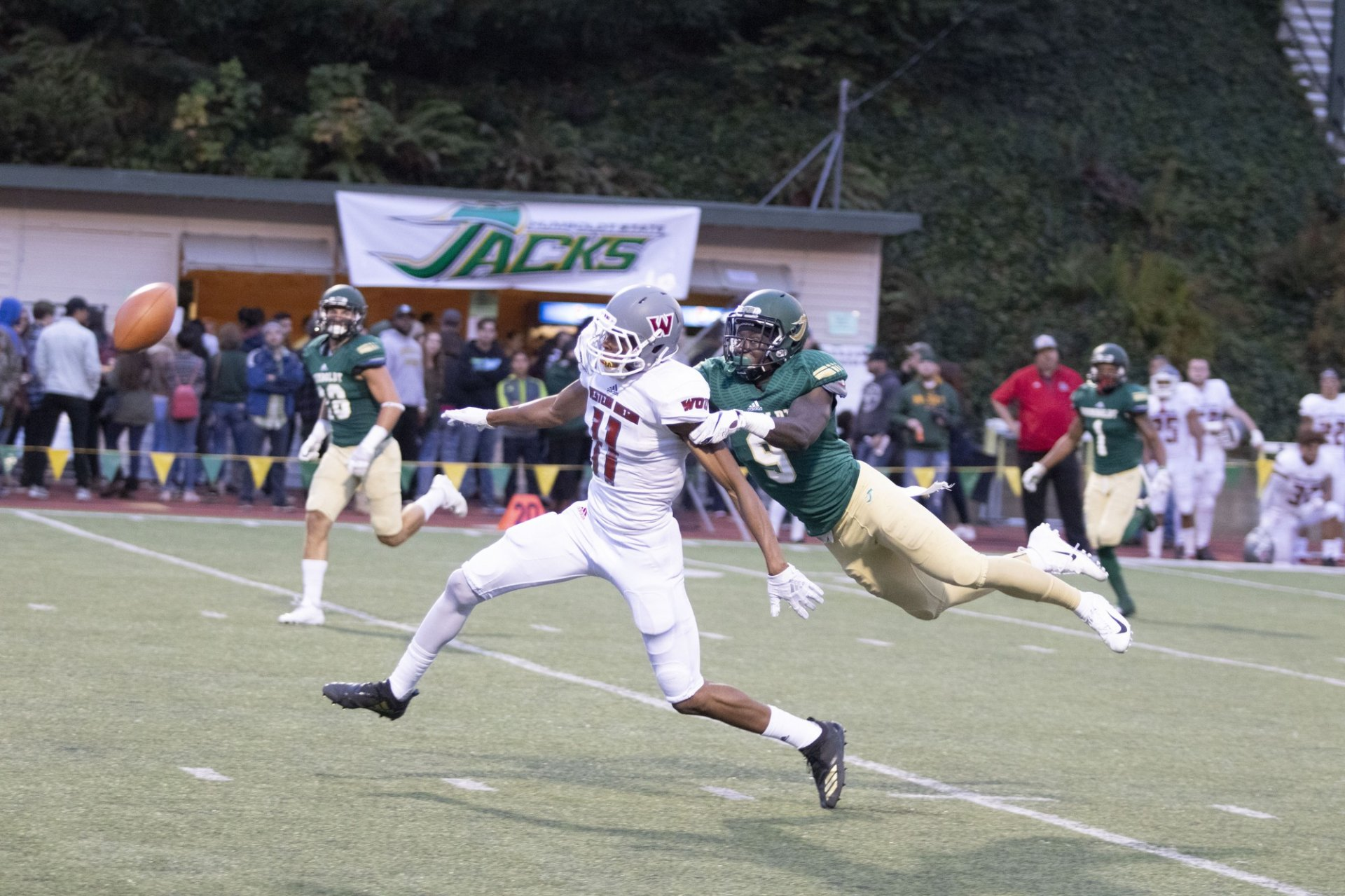 Defensive back number nine Ereon Nash disrupts the Western Oregon receiver leading to an incomplete pass at the Redwood Bowl on Oct. 27. | Photo by Matt Shiffler