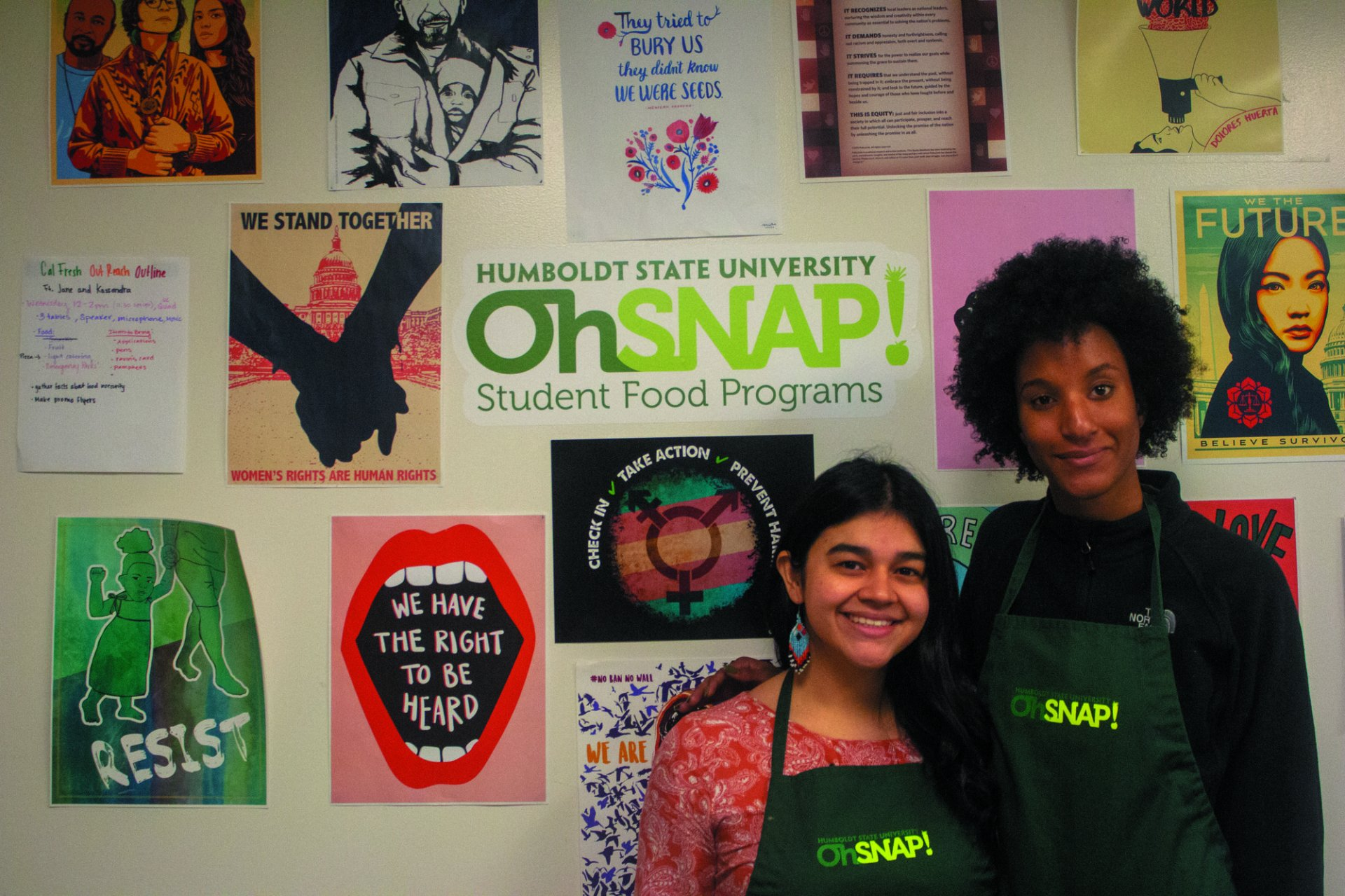 Victoria Nazario and Alexus Walker are seniors who work at OhSnap! and are changing the lives of HSU students with helping fulfill their nutritional needs.| Photo by T. William Wallin