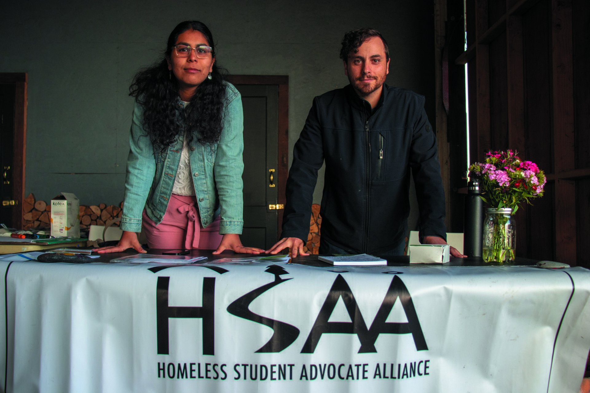 Daniela Prada, whose  been with Student Housing Advocate Alliance (SHAA) since the beginning, and Micheal Barnes, co-founder of SHAA, represented the organization during the Under the Bridge Awareness event at the Humboldt Bay Social Club on Saturday April 27. | Photo by  T.William Wallin