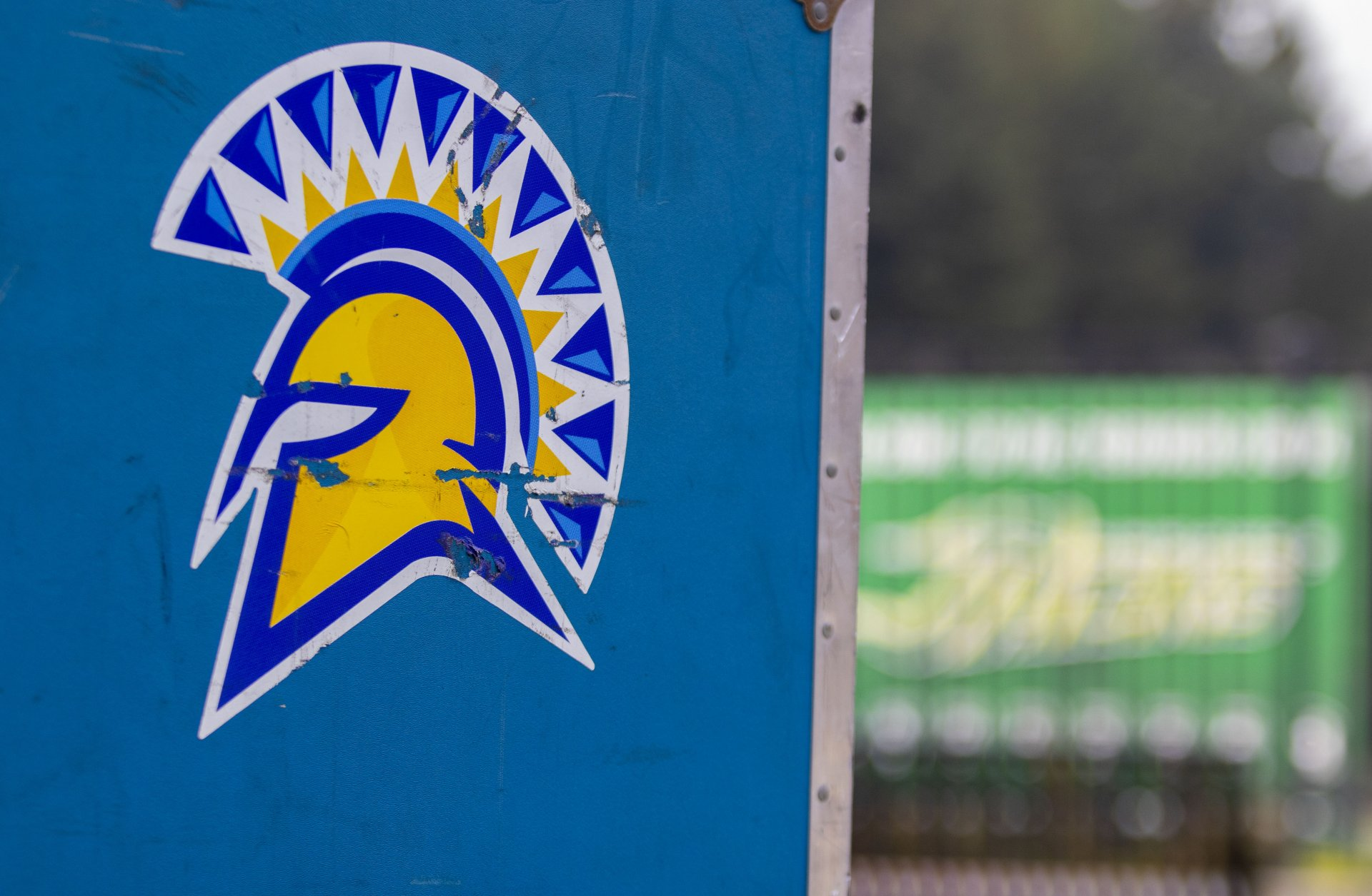 The San Jose State Spartan Logo on a crate of equipment at Redwood Bowl on Oct. 2, 2020 | Photo by Thomas Lal