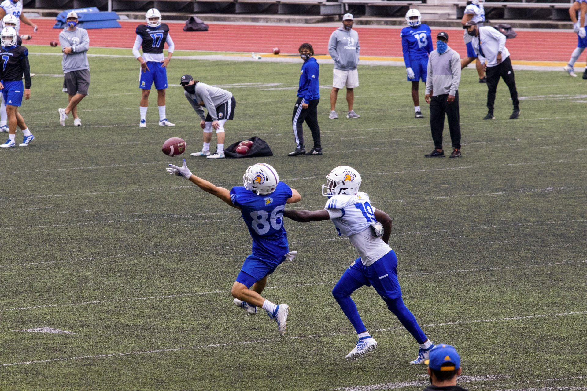 The San Jose State football team practices at the Redwood Bowl on the HSU campus before deaprting for SJSU on October 14, 2020 after COVID-19 restrictions were loosened in Santa Clara County. | Photo by Thomas Lal