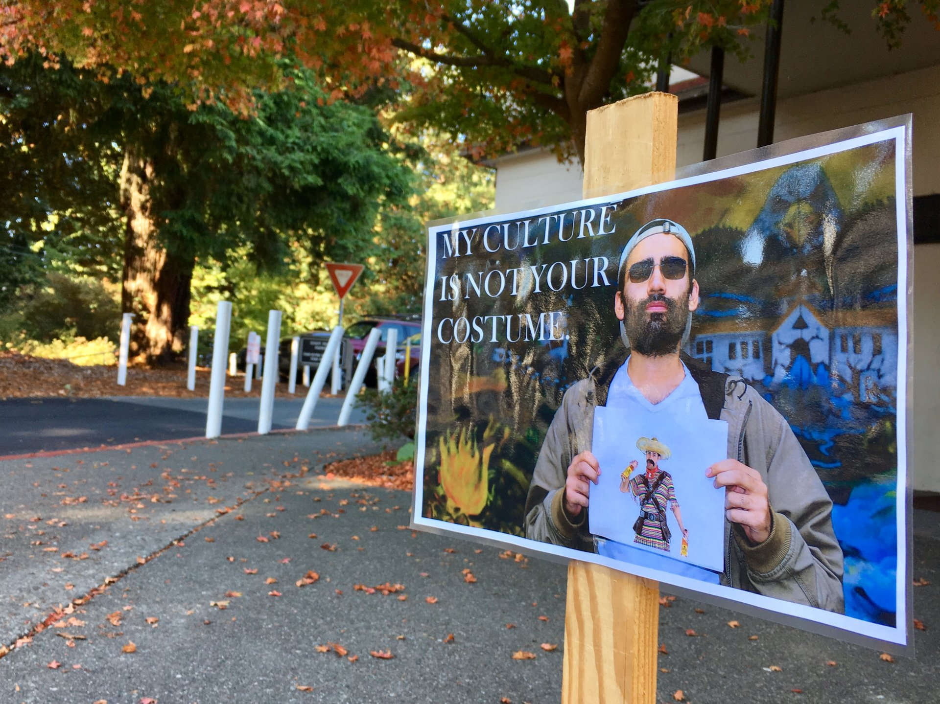 One of 17 signs on campus put up to educate students on cultural appropriation. | File Photo by Freddy Brewster