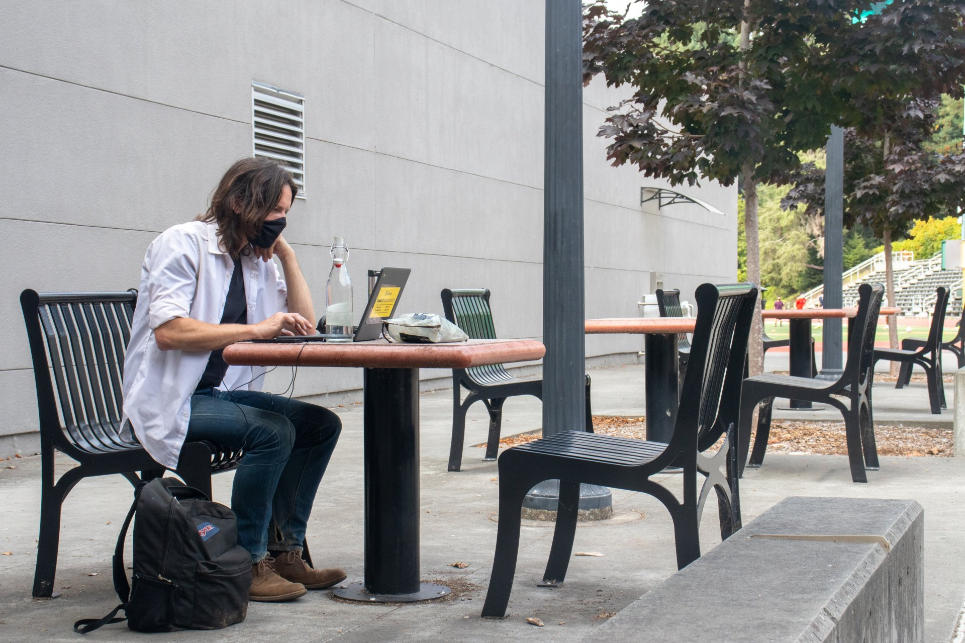 Drake Woosley, HSU mathematics major, does his homework on campus because he doesn't access to the internet at home. | Photo by Dakota Cox