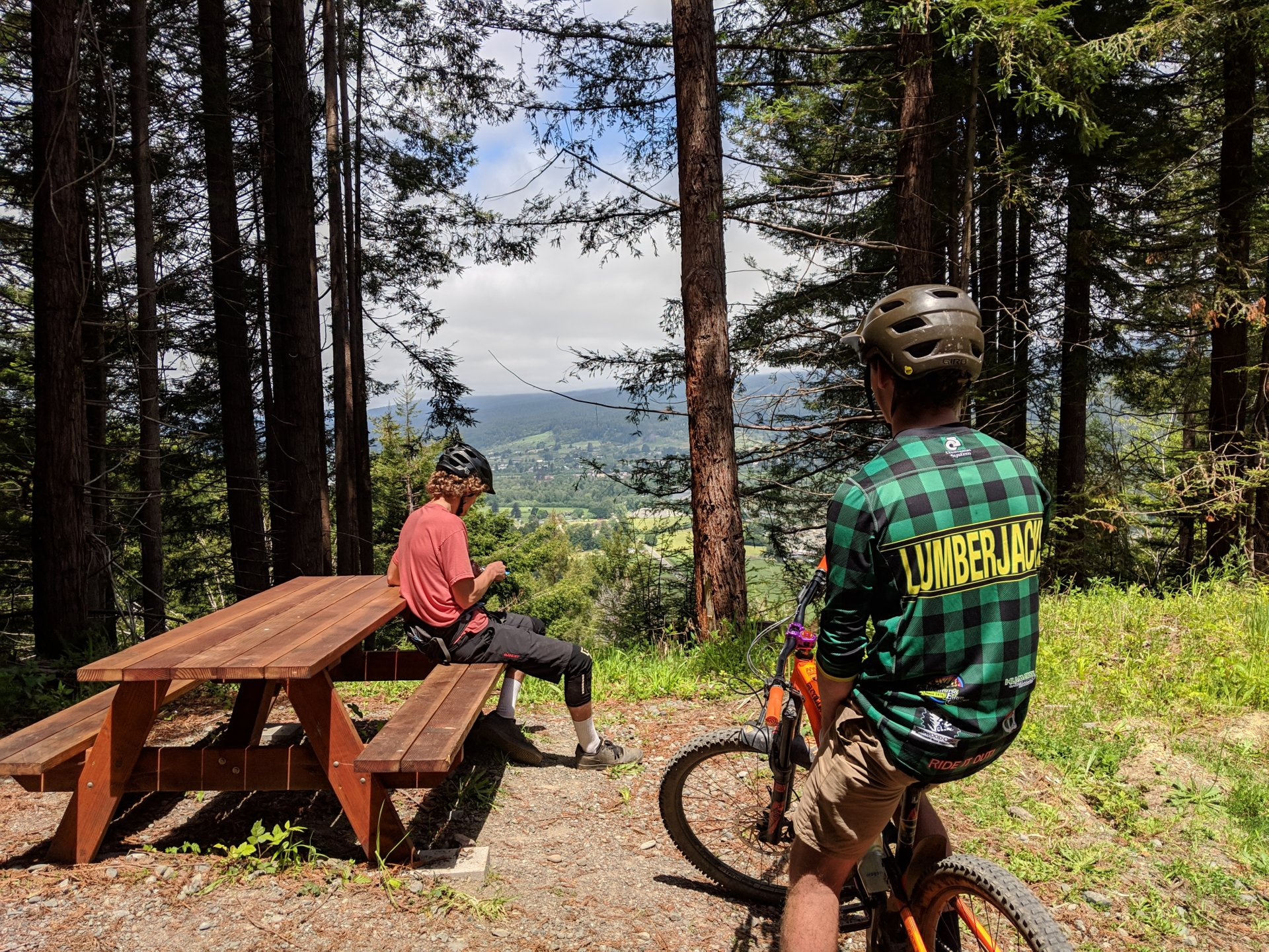 HSU students Michael Uppenkamp and Matt Wolder celebrate bike month 2019 with an outing to the Blue Lake trail network. | File photo by Jett Williams