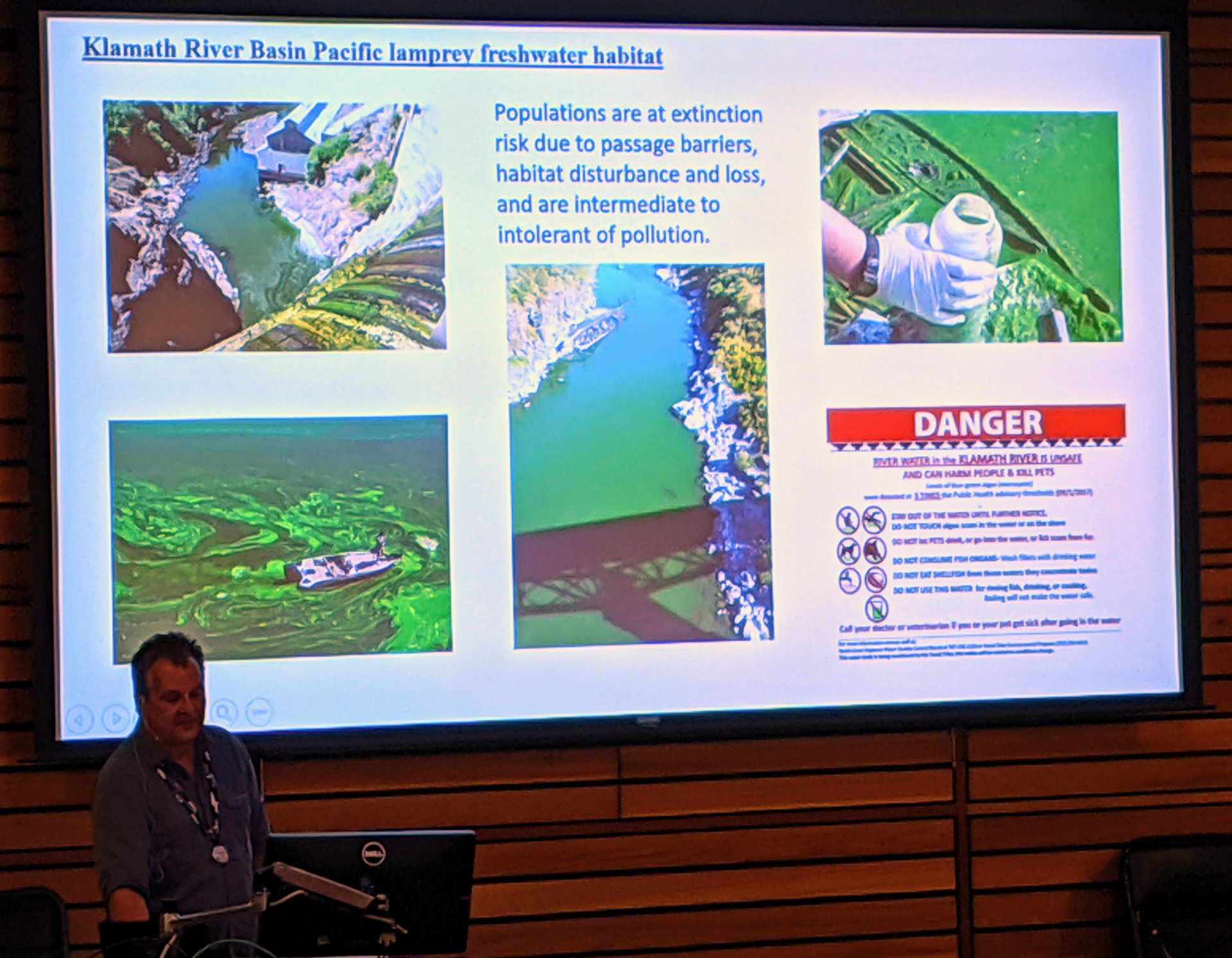 Yurok biologist Keith Parker shows examples of the Klamath River's declining health and blue-green algae growth during his lecture at Humboldt State, on Oct. 18 | Michael Estrada