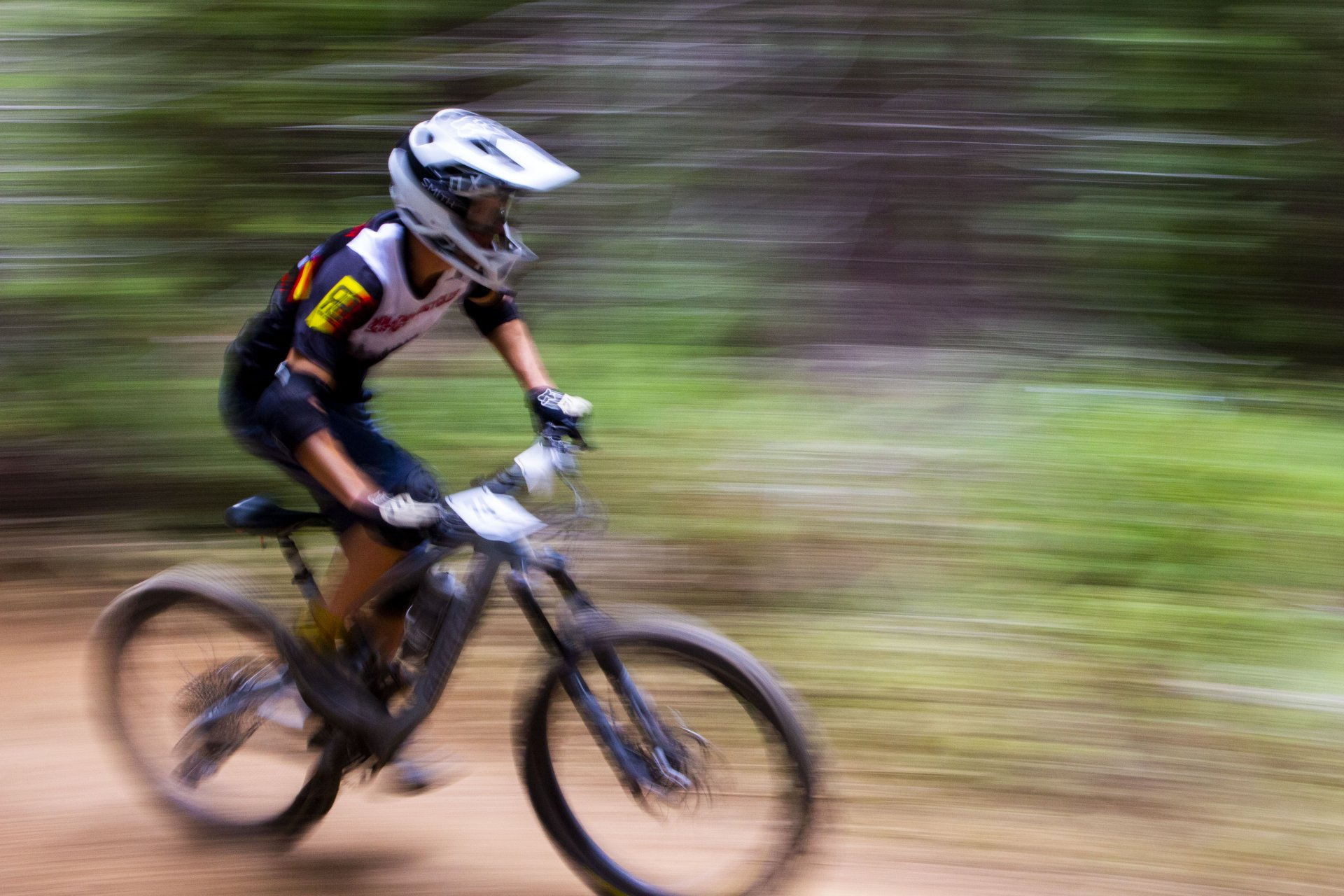 Jared Gerstein exits a berm on during a fast section on stage four of the Mad River Enduro on the way to finishing second in the Expert 40-49 on September 7. | Photo by Thomas Lal