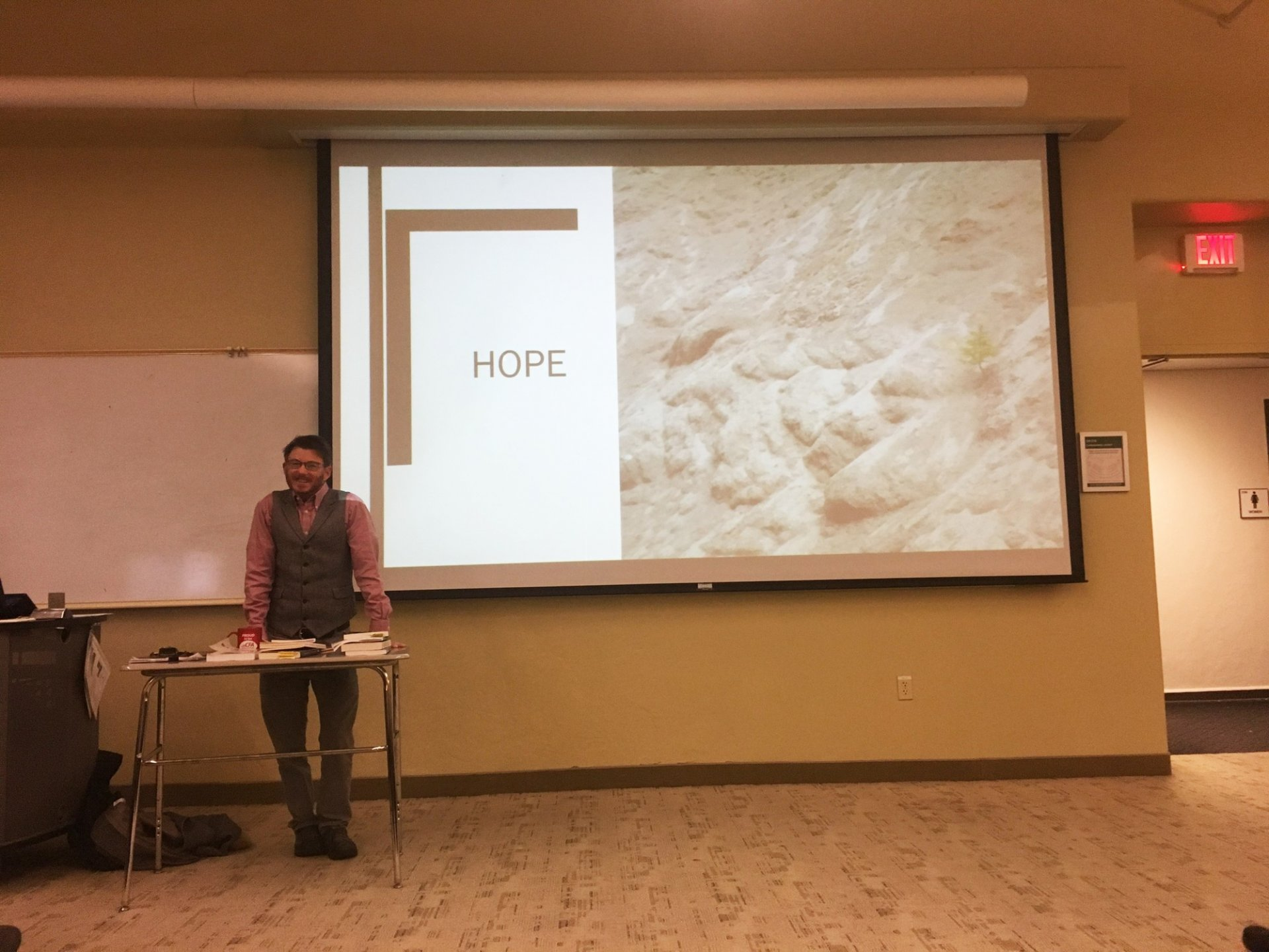 Loren Cannon talking to students and community members about hope in a talk focused on trans injustice on Thursday, February 7. Photo by Christina Samoy.