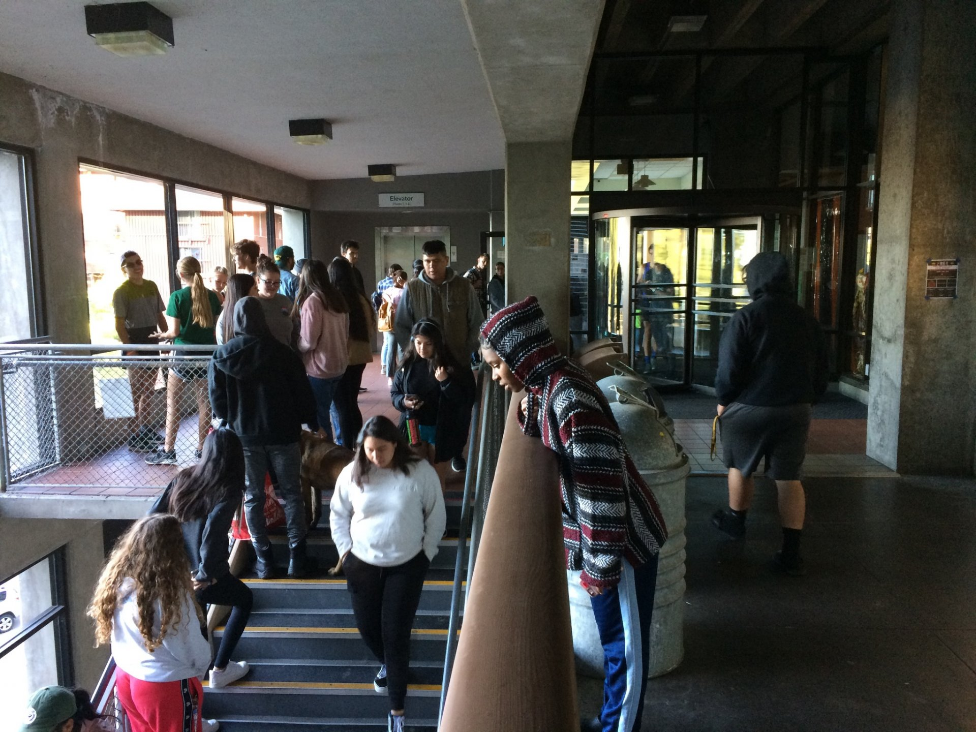 The line to get free food on Oct. 9 outside the J during the California power outages. Food is scarce and students without vehicles rely on campus to meet their needs. | Photo by James Wilde