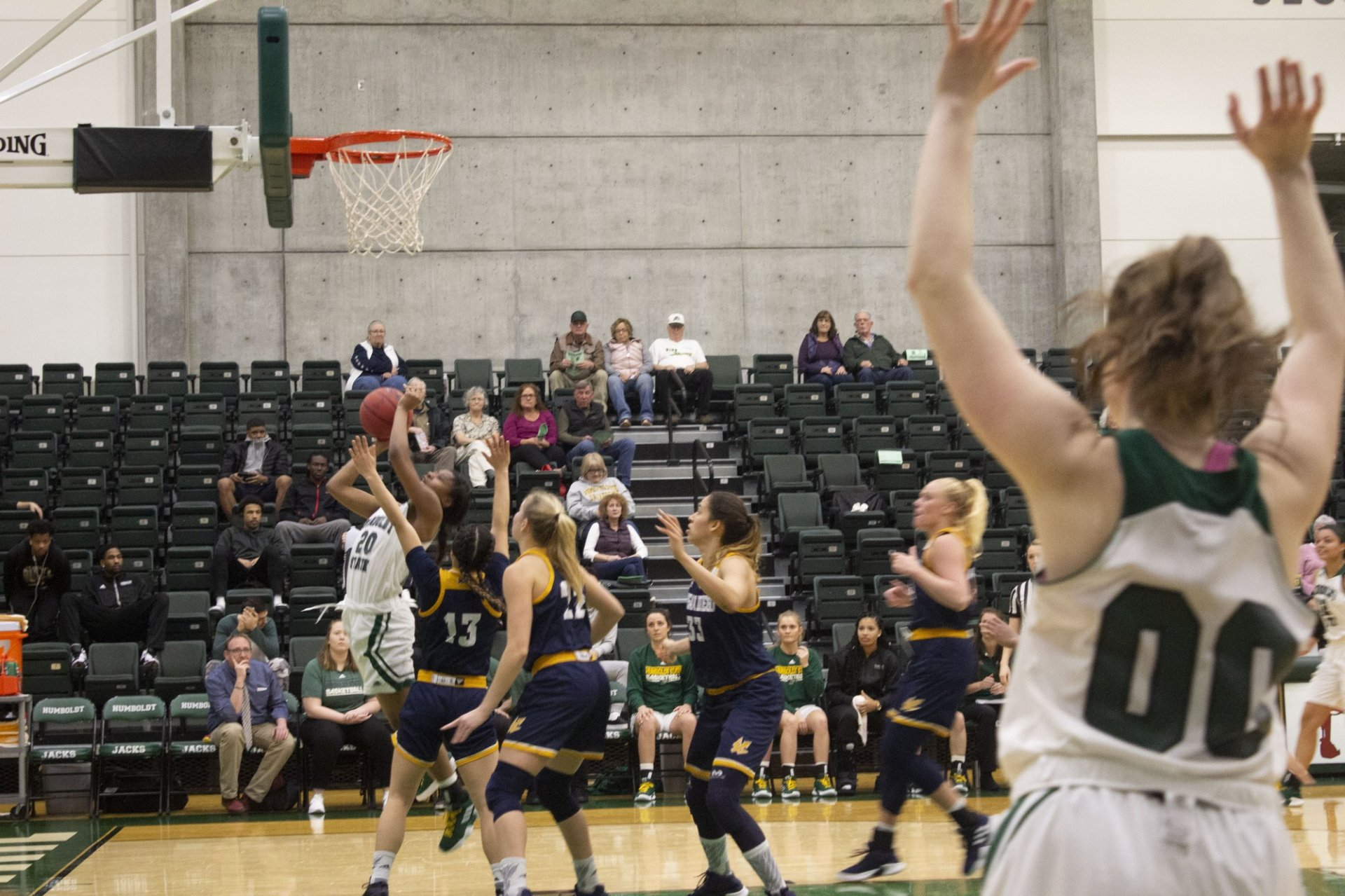Junior combo guard/forward Alexia Thrower takes contact on her way to two points at the Lumberjack Arena on Jan. 26. Photo by Amanda Schultz